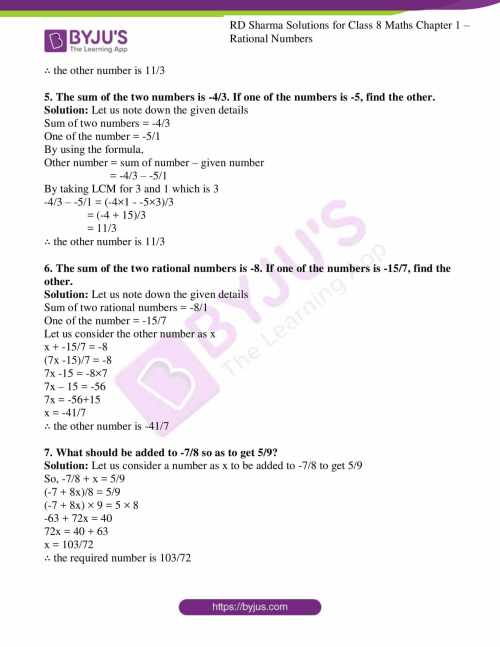small resolution of RD Sharma Solutions for Class 8 Chapter 1 - Rational Numbers Download Free  PDF