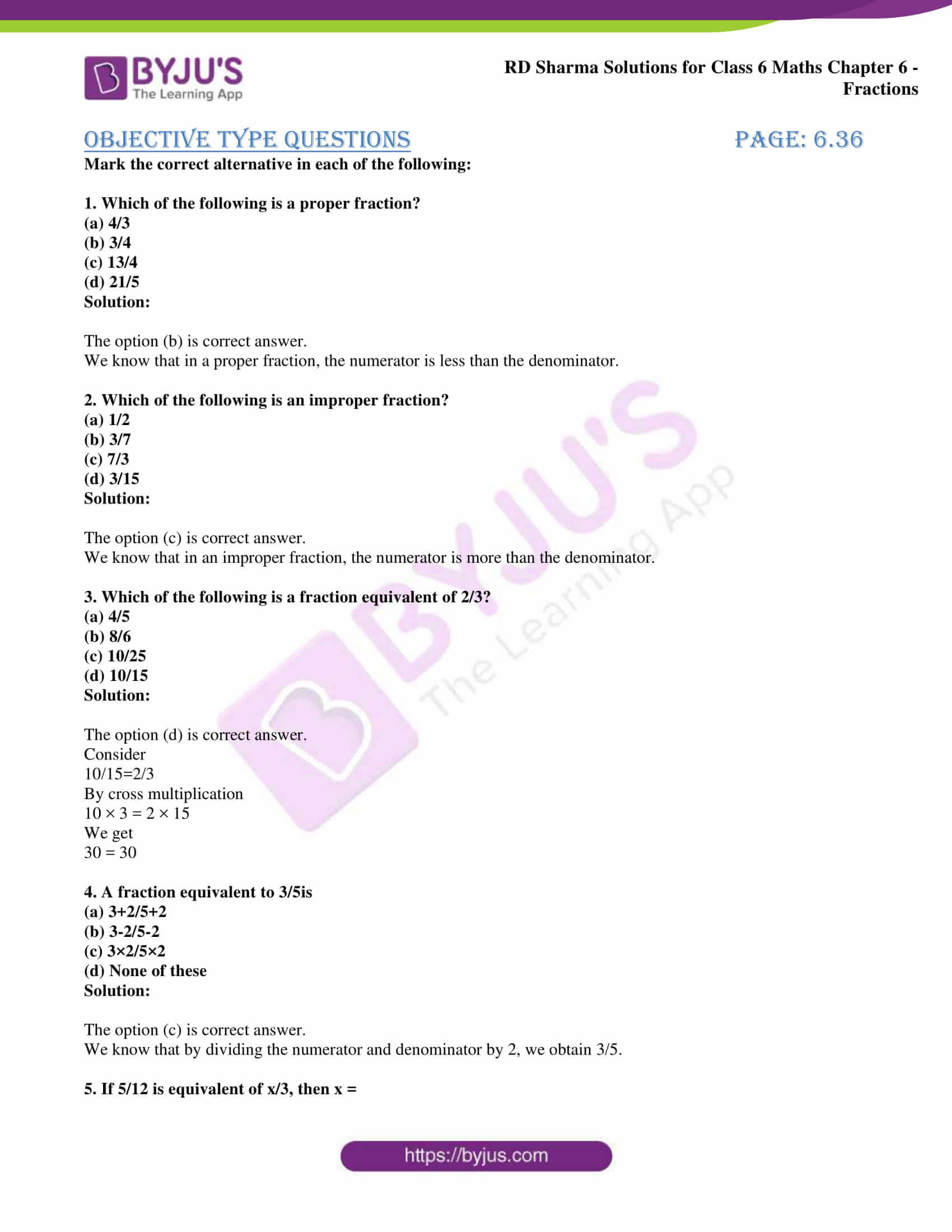 Rd Sharma Solutions For Class 6 Chapter 6 Fraction For