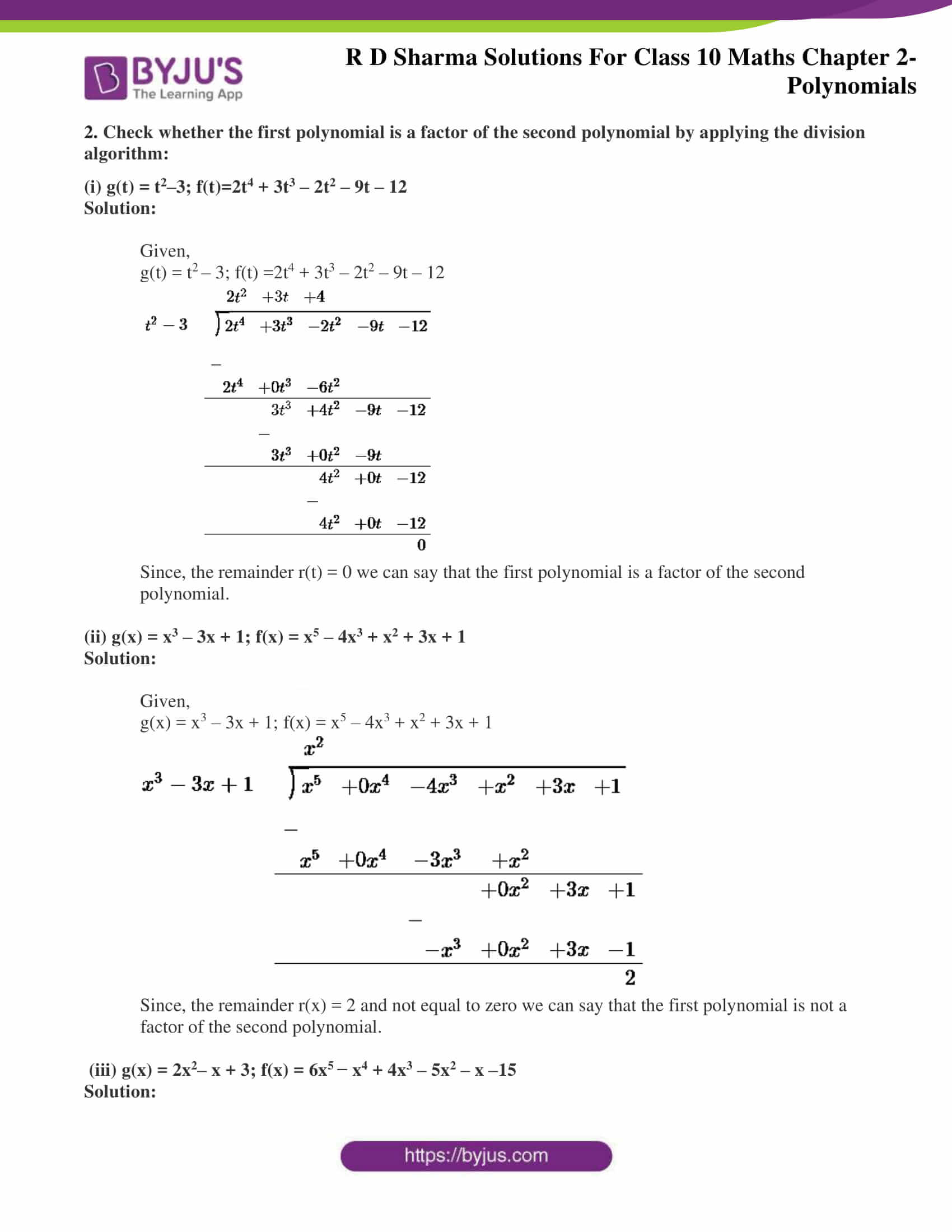 hight resolution of RD Sharma Class 10 Solutions Maths Chapter 2 Polynomials Exercise 2.3
