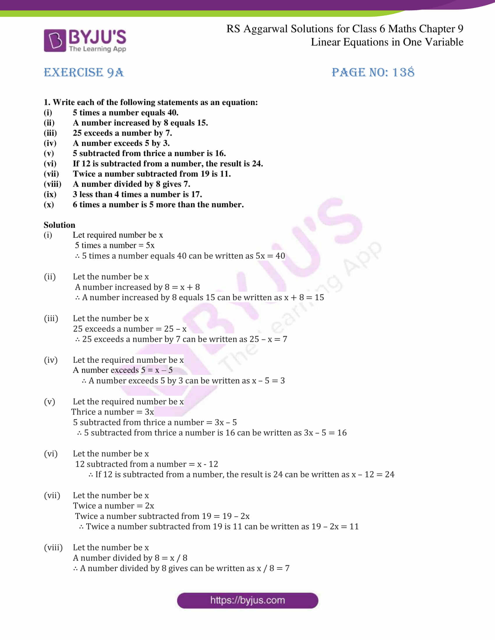 Linear Equations In One Variable Class 8 Mcq With Answers
