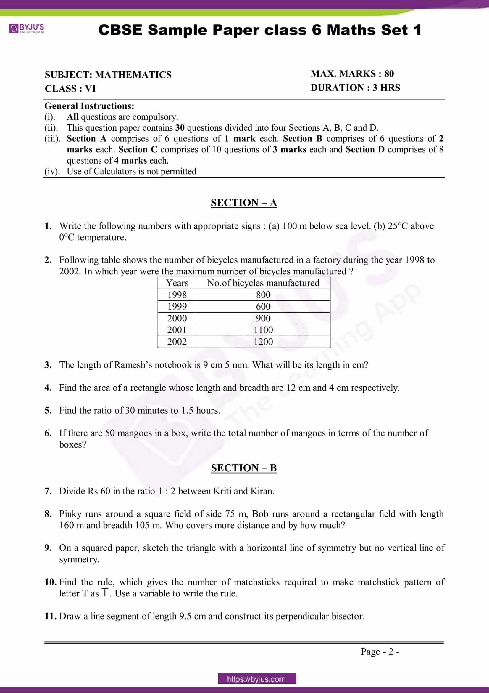 hight resolution of Download CBSE Class 6 Maths Sample Paper Set 1 PDF