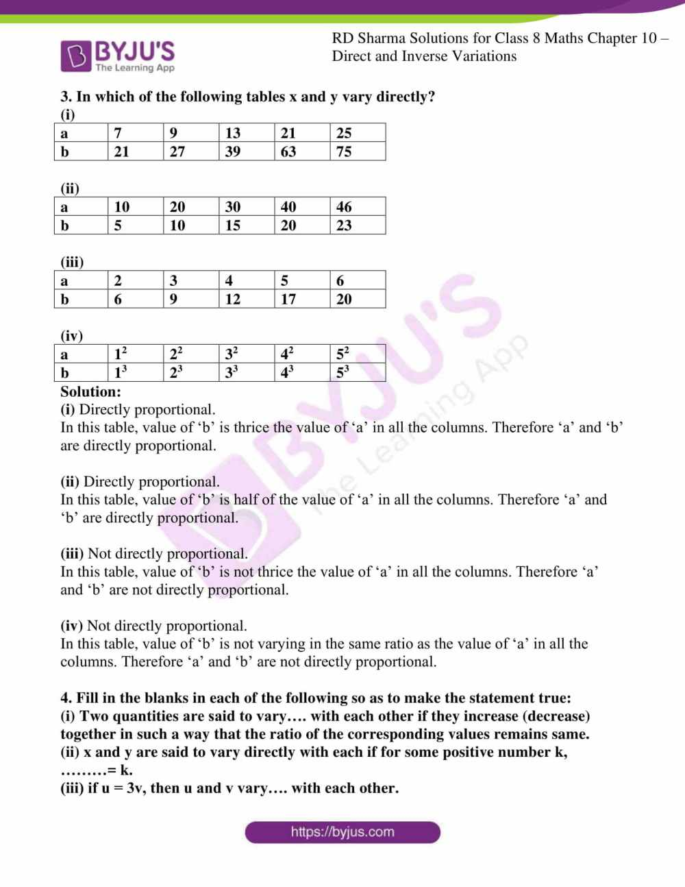 medium resolution of RD Sharma Solutions for Class 8 Chapter 10 Direct and Inverse Variations  free download pdf