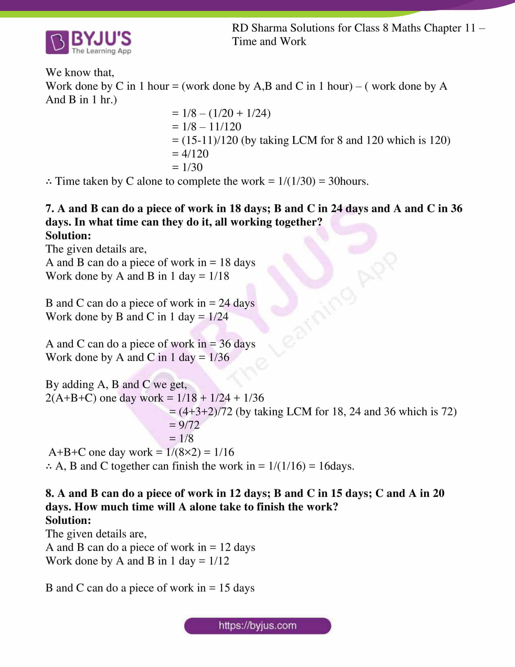 Rd Sharma Solutions For Class 8 Chapter 11 Time And Work