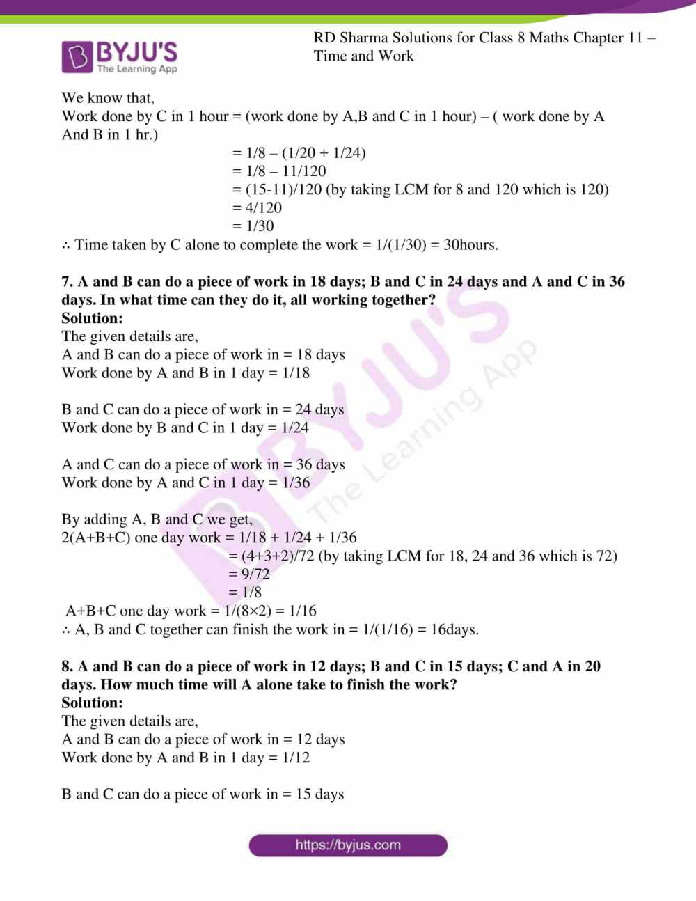 medium resolution of RD Sharma Solutions for Class 8 Chapter 11 Time and Work free download pdf