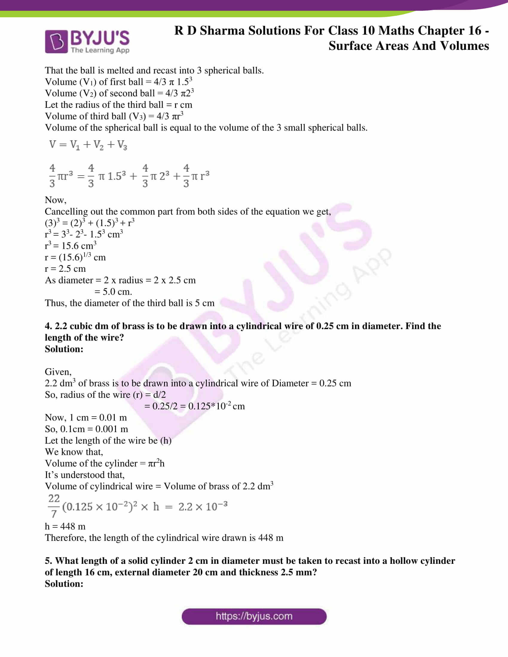 Rd Sharma Solutions For Class 10 Chapter 16 Surface Areas