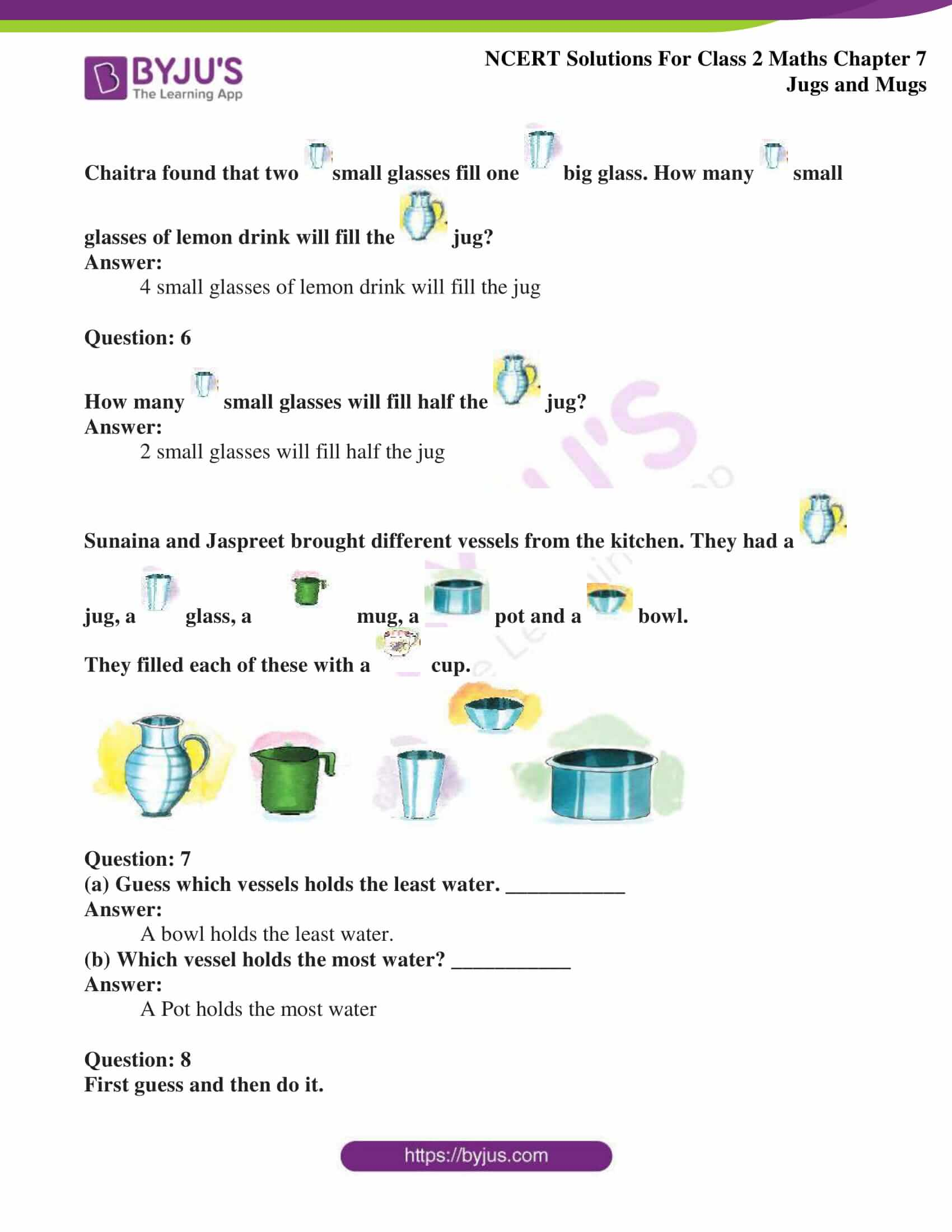 Ncert Solutions For Class 2 Maths Chapter 7 Jugs And Mugs