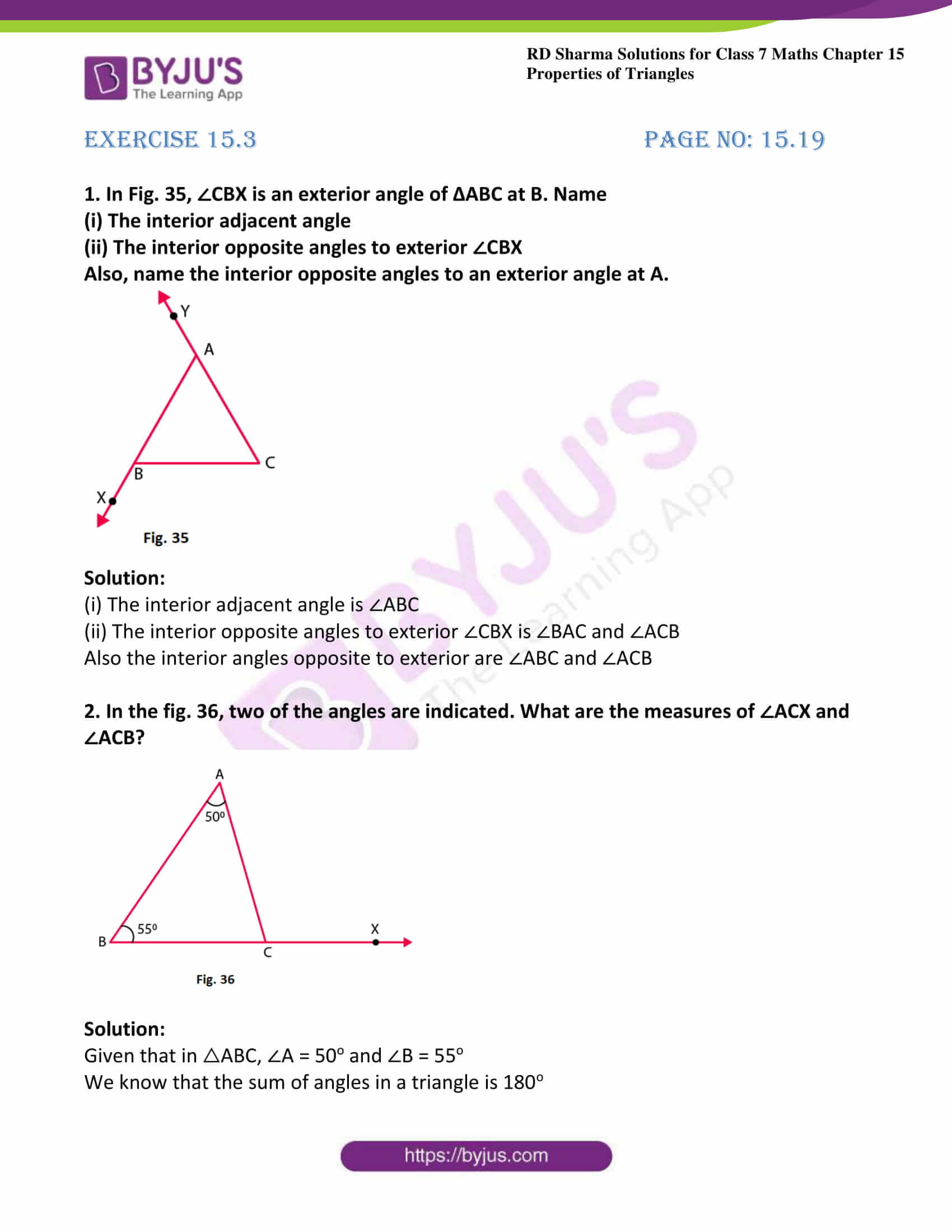 Interior And Exterior Angles Of Triangles Worksheets