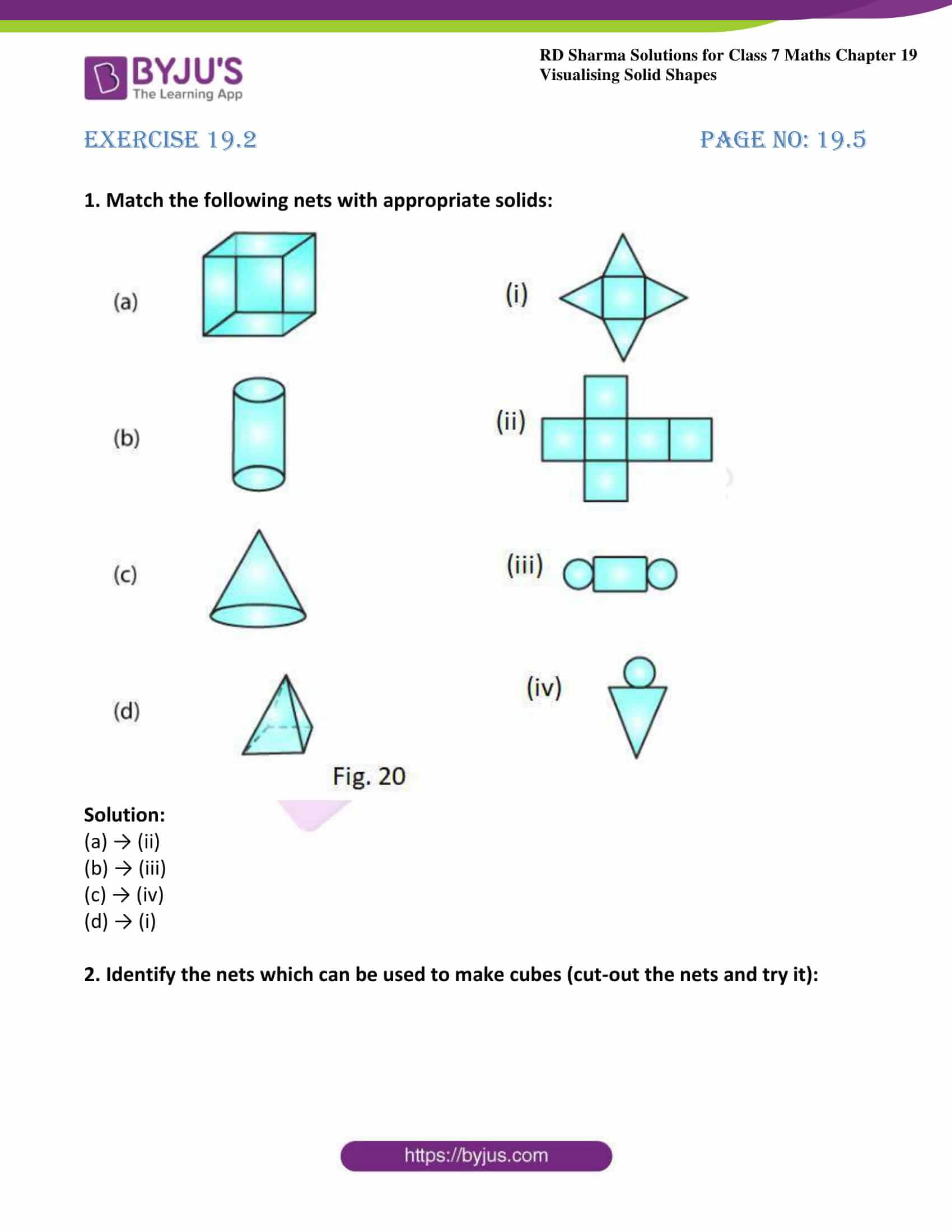hight resolution of RD Sharma Solutions for Class 7 Maths Chapter 19 - Visualising Solid Shapes  - Download free PDF