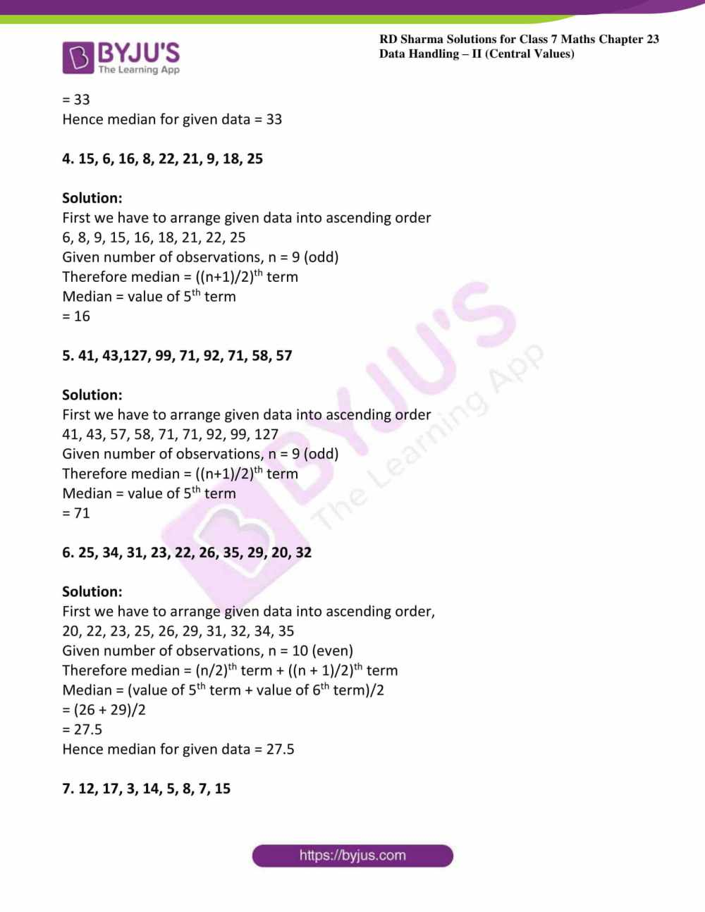 medium resolution of RD Sharma Solutions for Class 7 Maths Chapter 23 - Data Handling - II  (Central Values) Exercise 23.3 - Access free PDF