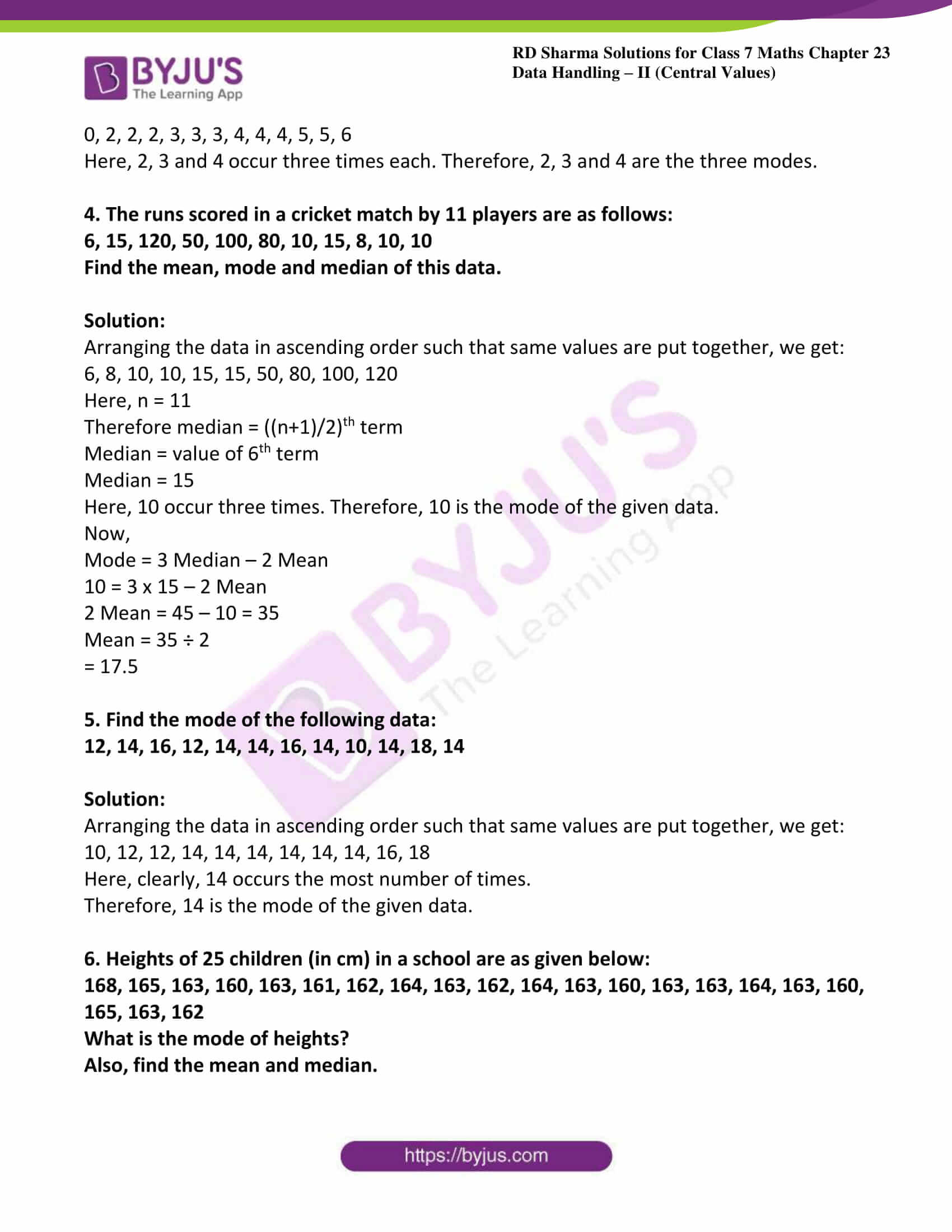 hight resolution of RD Sharma Solutions for Class 7 Maths Chapter 23 - Data Handling - II  (Central Values) Exercise 23.4 - free PDFs are available here.