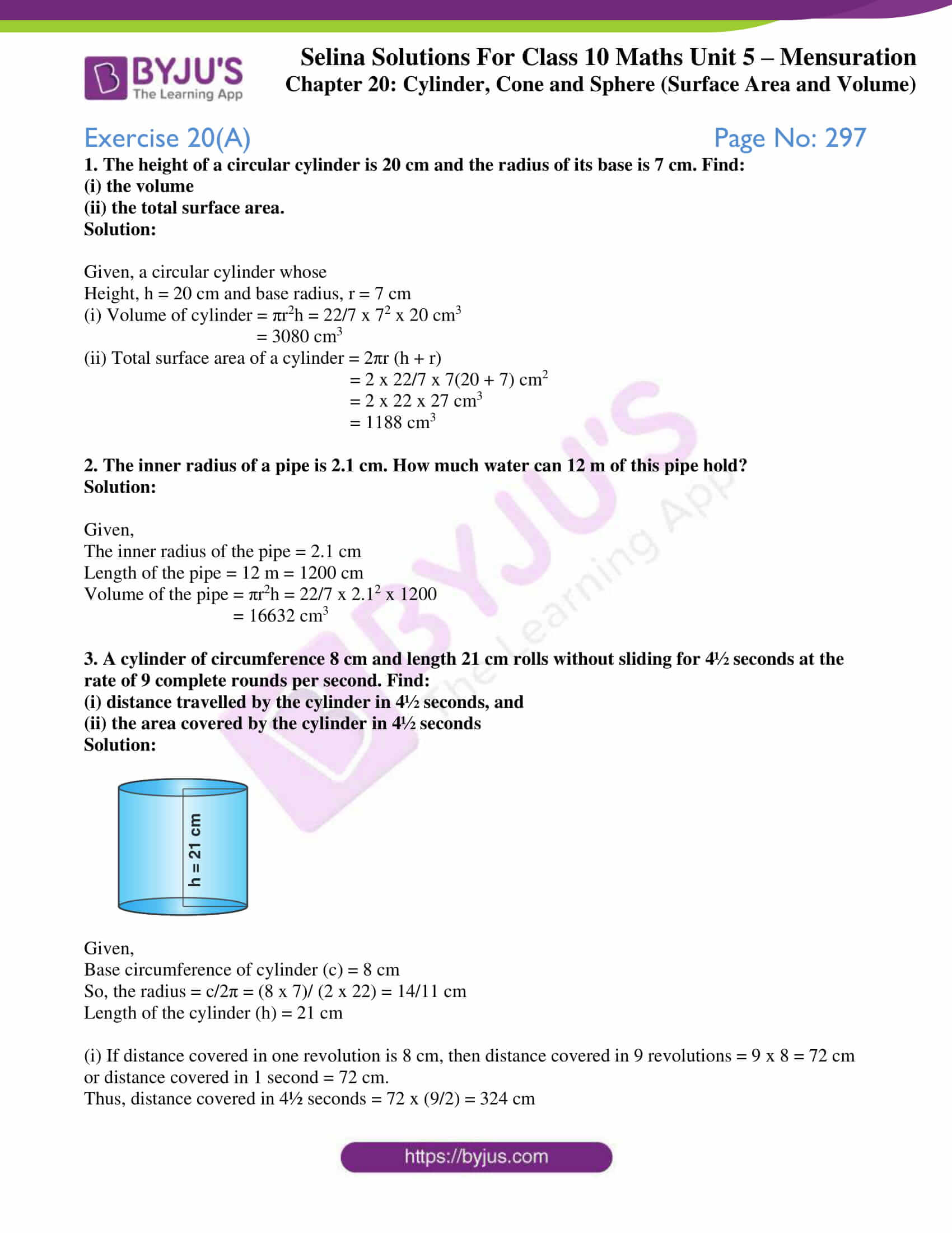 Selina Solutions Concise Mathematics Class 10 Chapter 20