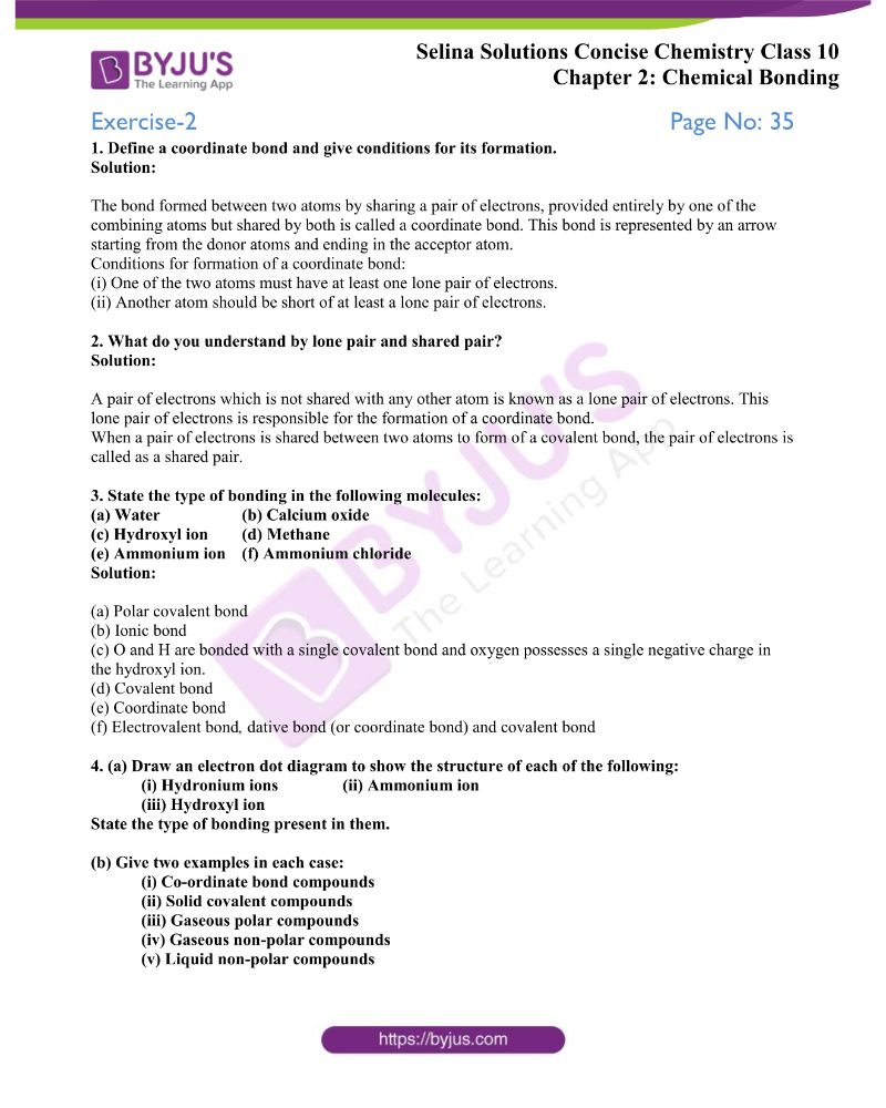 hight resolution of Selina Solutions Class 10 Concise Chemistry Chapter 2 Chemical Bonding  -Download Free PDF