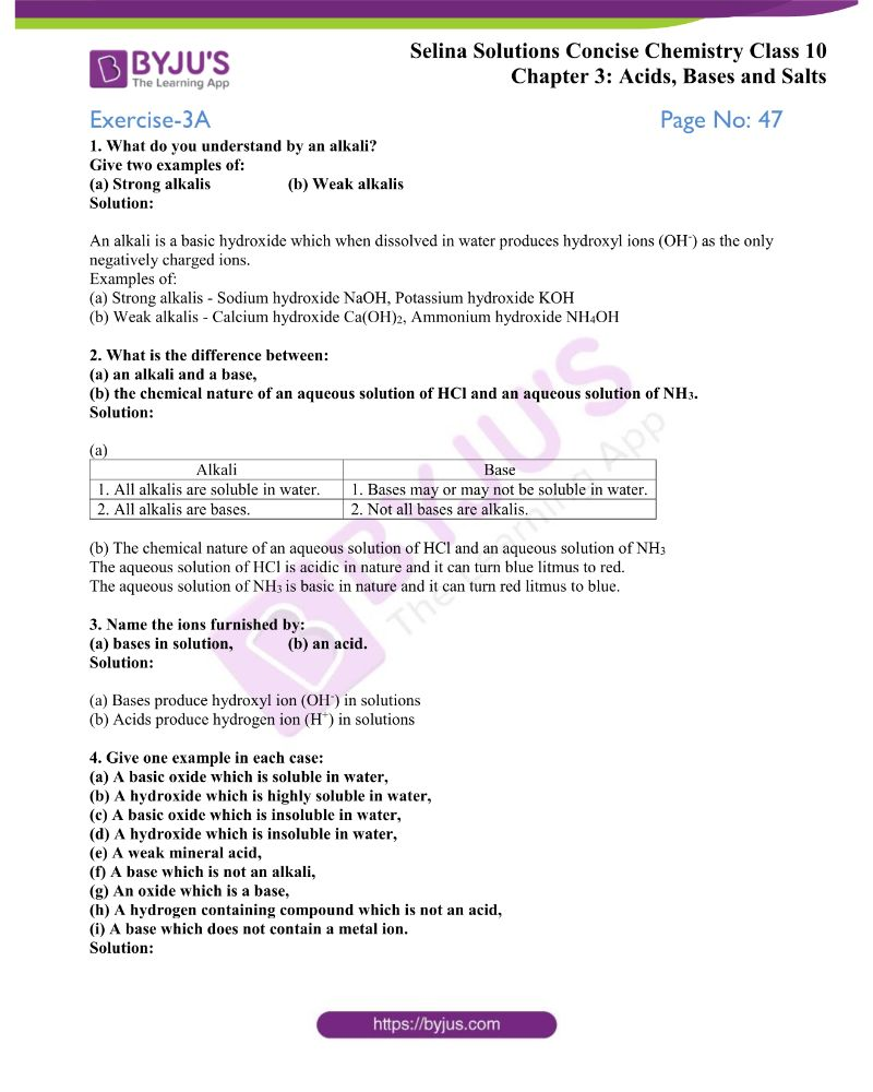 hight resolution of Selina Solutions Class 10 Concise Chemistry Chapter 3 Acids Bases And Salts  -Download Free PDF