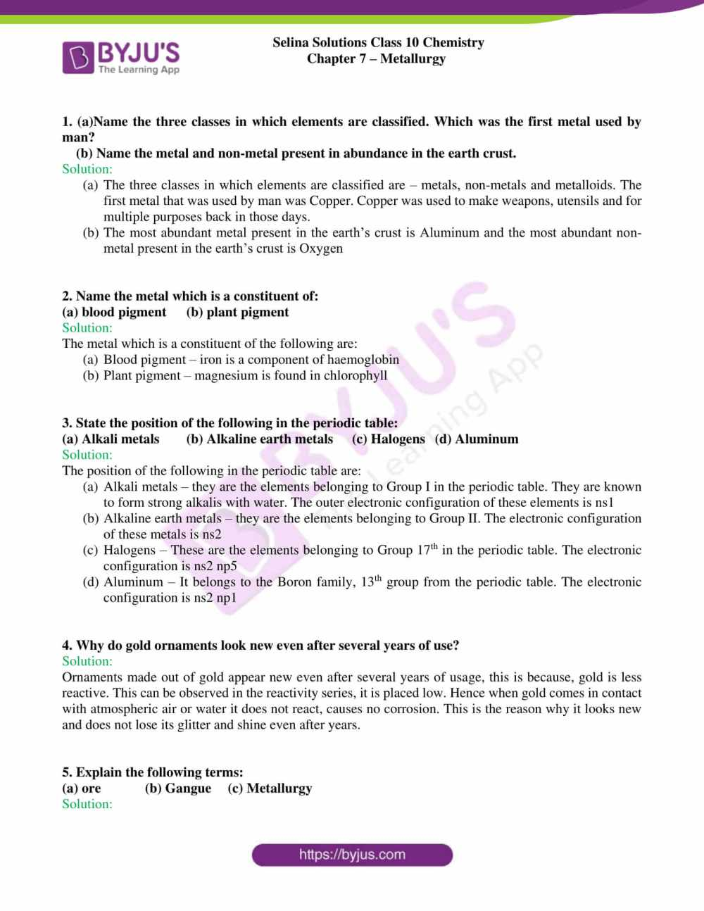 medium resolution of Selina Solutions Class 10 Concise Chemistry Chapter 7 Metallurgy -Download  Free PDF