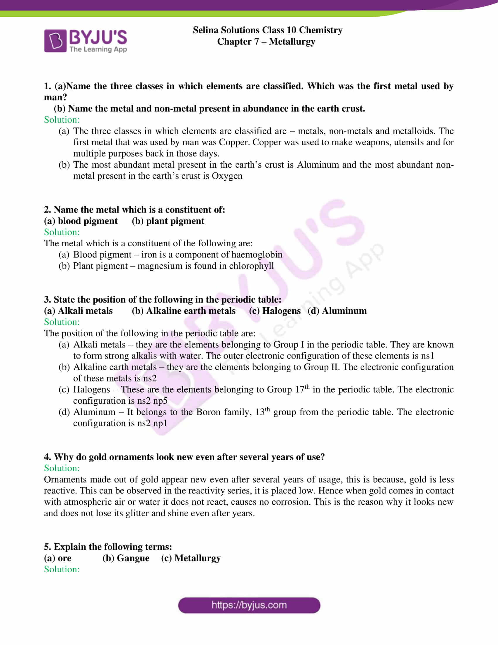 hight resolution of Selina Solutions Class 10 Concise Chemistry Chapter 7 Metallurgy -Download  Free PDF