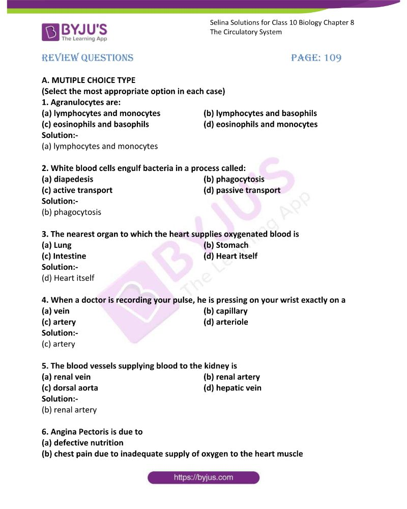 hight resolution of Selina Solutions Concise Biology Class 10 Chapter 8 The Circulatory System  available in free PDF