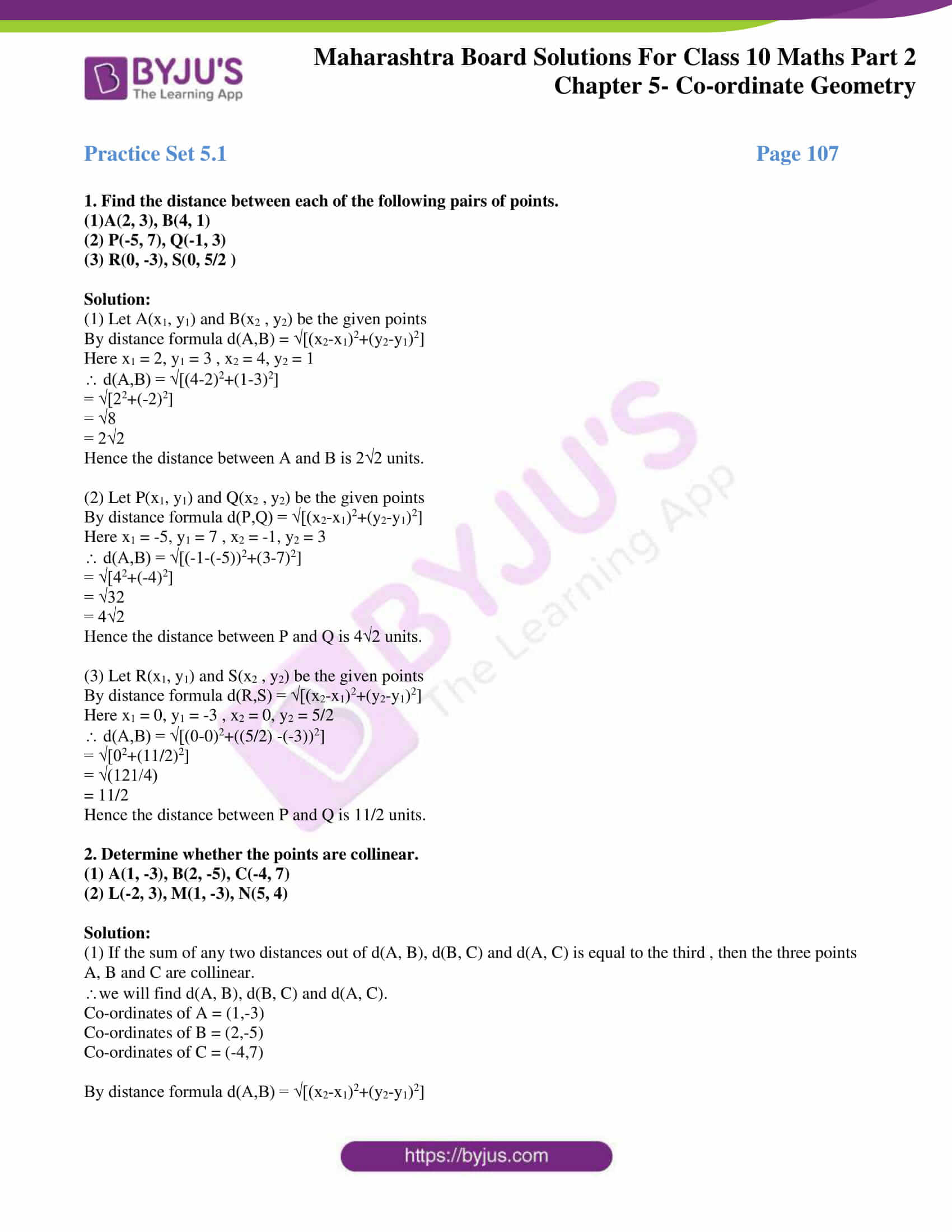 hight resolution of MSBSHSE Solutions For SSC Maths Part 2 Chapter 5- Coordinate Geometry