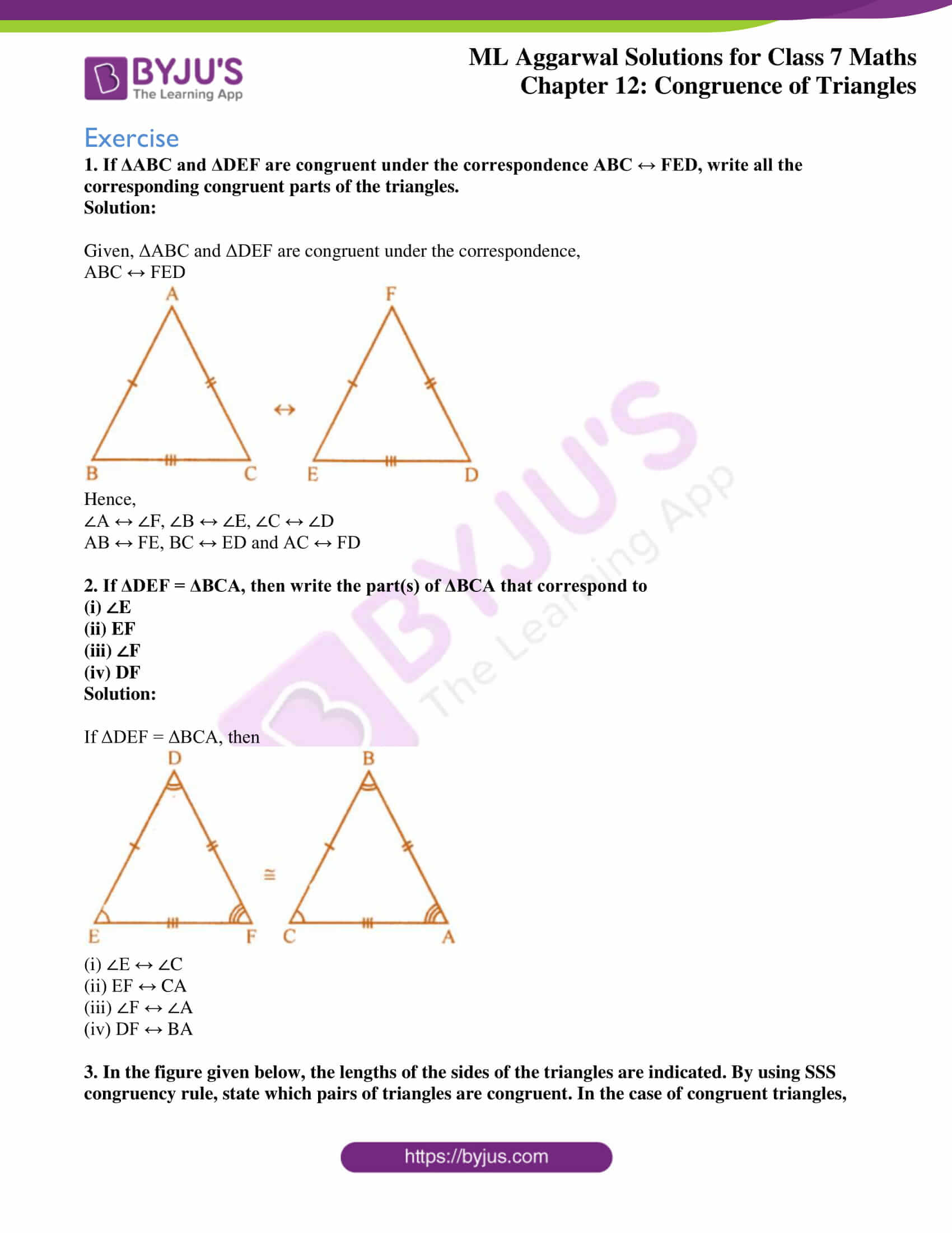 hight resolution of ML Aggarwal Solutions for Class 7 Chapter 12 Congruence of Triangles  download free PDF
