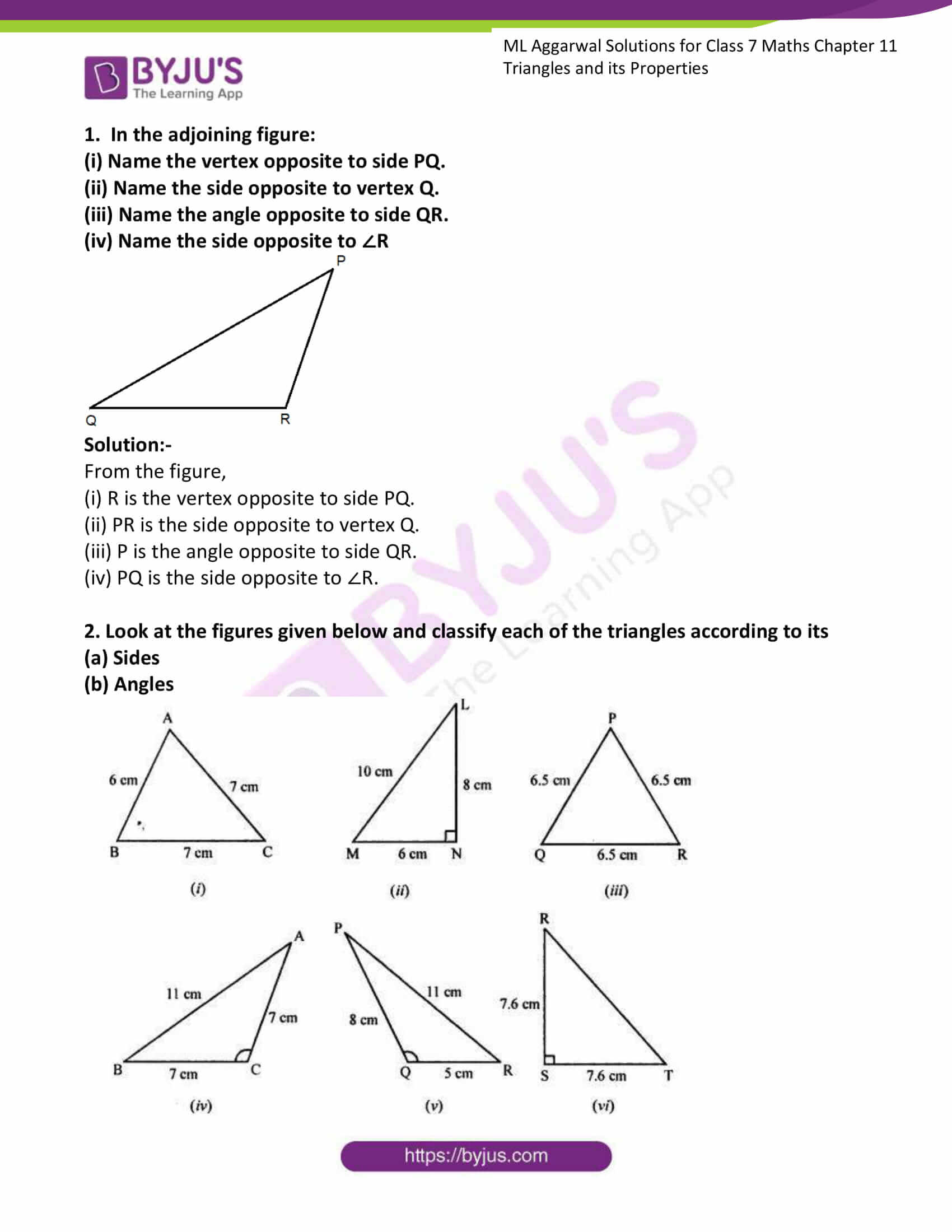 hight resolution of ML Aggarwal Solutions for Class 7 Maths Chapter 11 Triangles and its  Properties click here to download free PDF