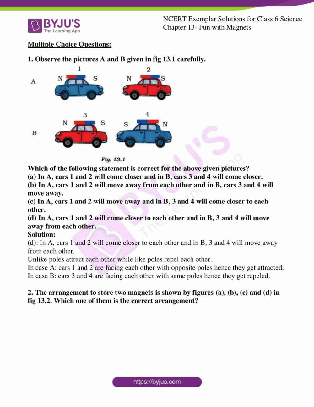 medium resolution of Avail free pdf of NCERT Exemplar Solutions for Class 6 Science Chapter 13 -  Fun with Magnets