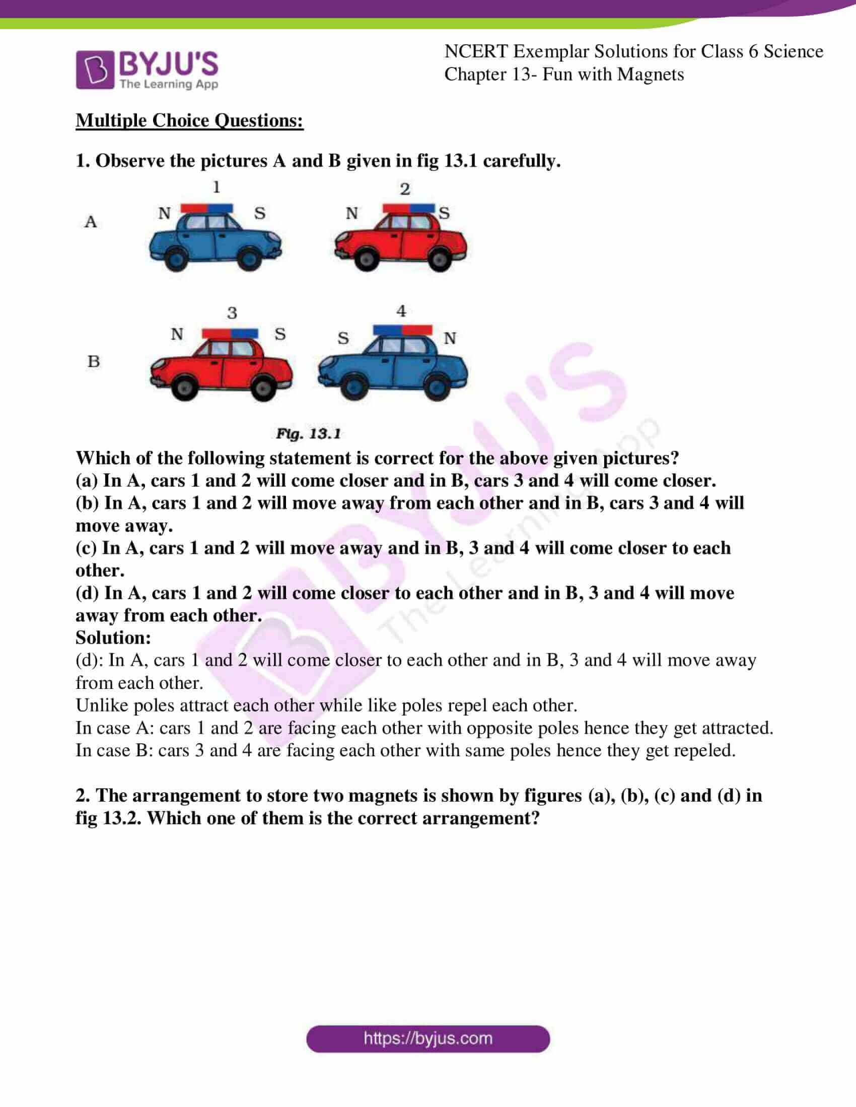 hight resolution of Avail free pdf of NCERT Exemplar Solutions for Class 6 Science Chapter 13 -  Fun with Magnets