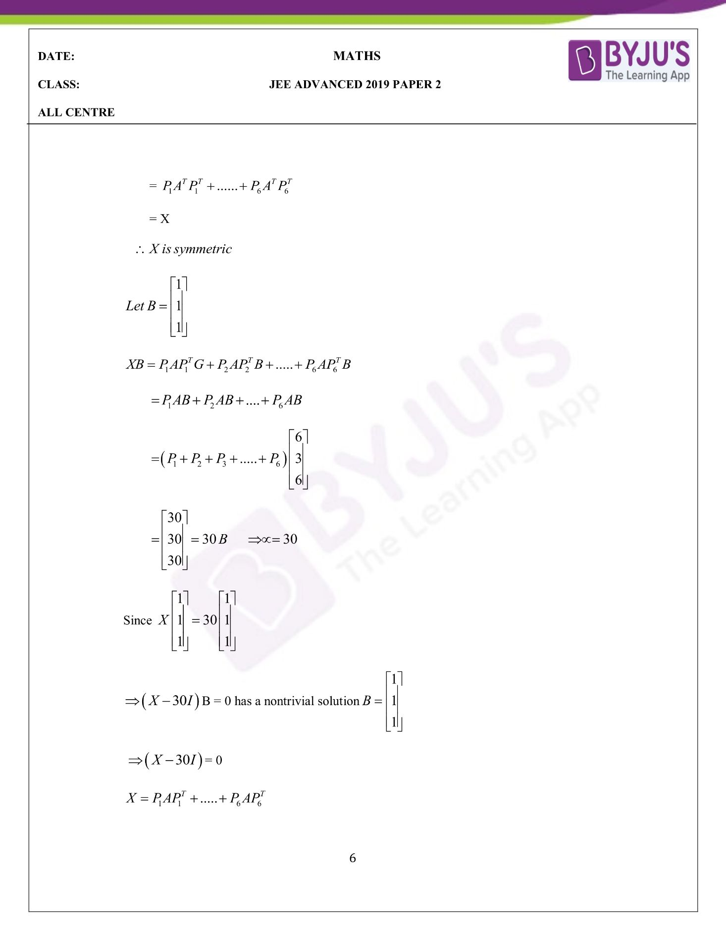 JEE Advanced 2019 Maths Paper 2 Questions with Solutions