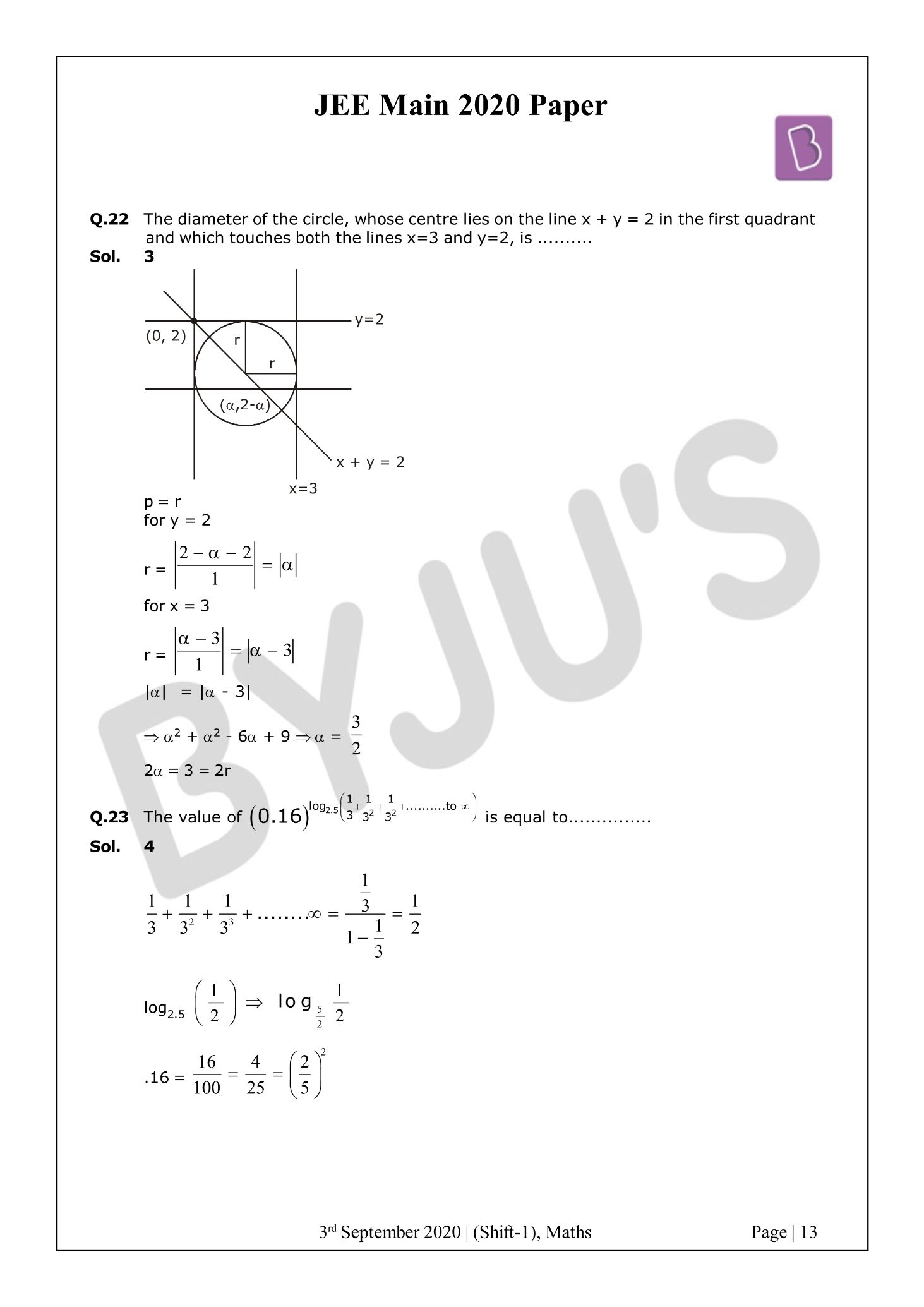 JEE Main 2020 Paper With Solutions Maths Shift 1 (Sept 3