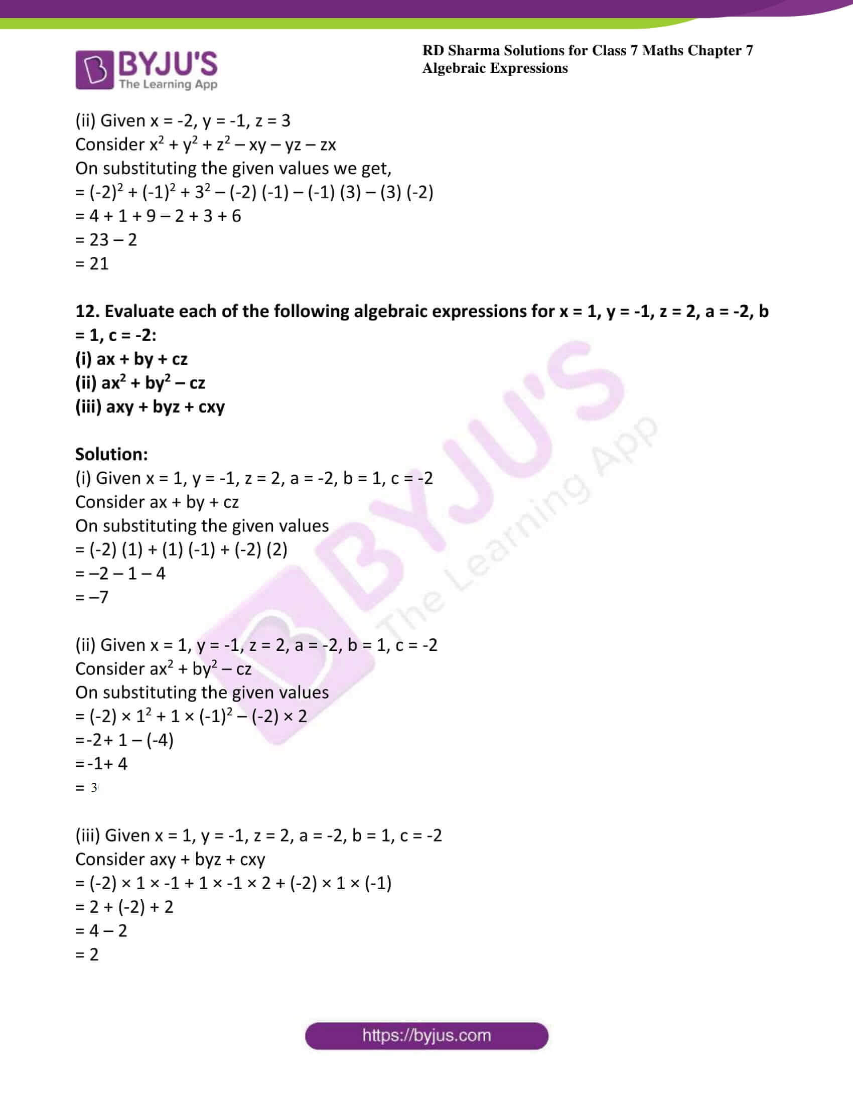 hight resolution of RD Sharma Solutions for Class 7 Maths Chapter 7 - Algebraic Expressions -  Download free PDF