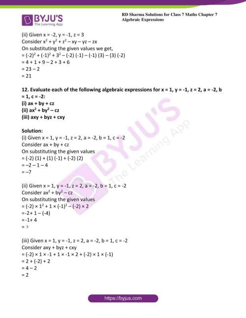 small resolution of RD Sharma Solutions for Class 7 Maths Chapter 7 - Algebraic Expressions -  Download free PDF