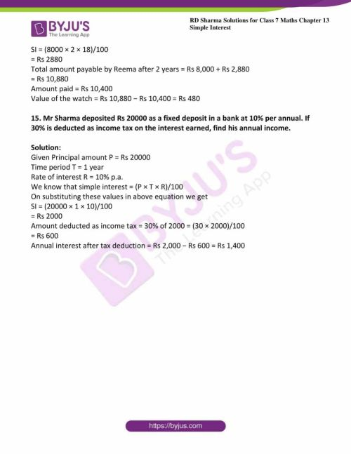 small resolution of RD Sharma Solutions for Class 7 Maths Chapter 13 - Simple Interest - Avail  free PDF