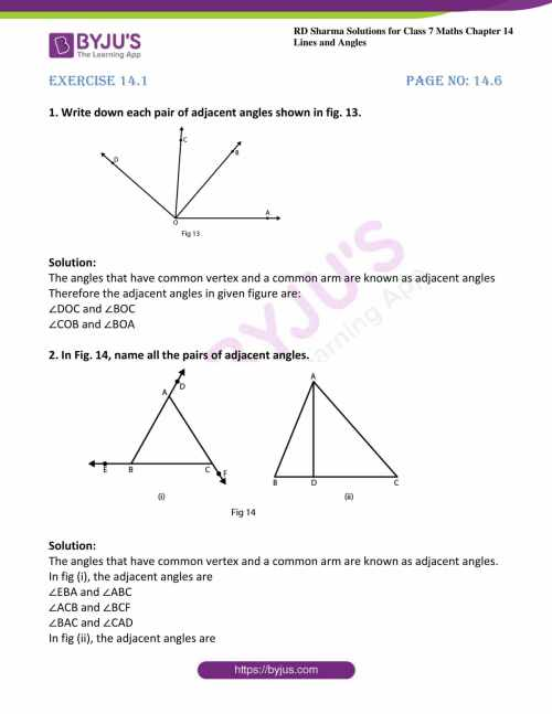 small resolution of RD Sharma Solutions for Class 7 Maths Chapter 14 - Lines And Angles  Exercise 14.1 - Access free PDF