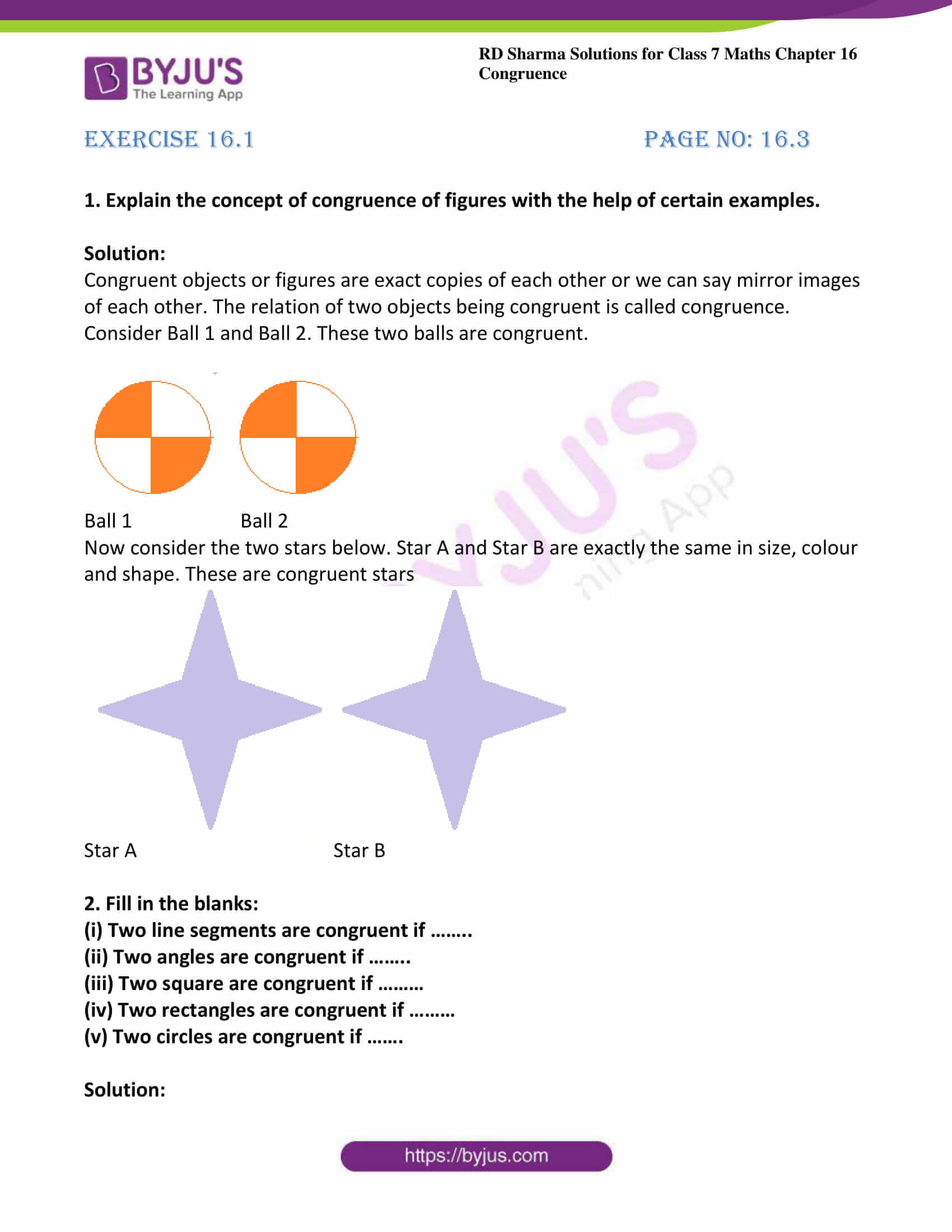 hight resolution of RD Sharma Solutions for Class 7 Maths Chapter 16 - Congruence - Free PDFs  are available here