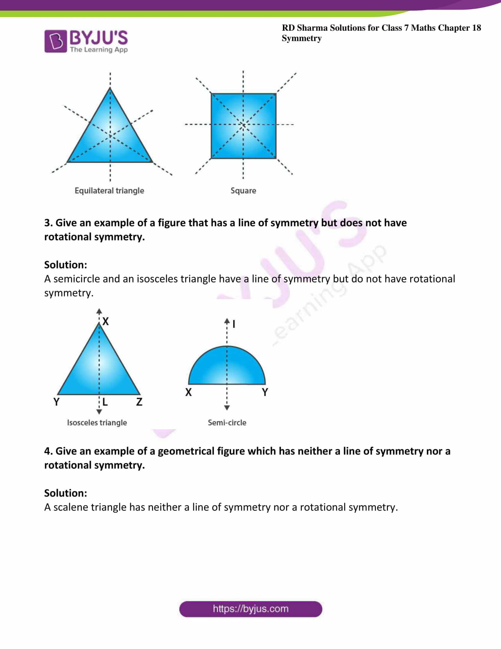 hight resolution of RD Sharma Solutions for Class 7 Maths Chapter 18 - Symmetry Exercise 18.3 -  Get Free PDF
