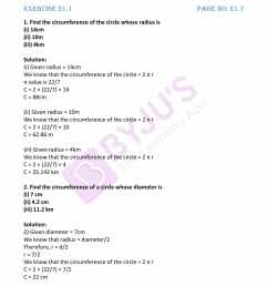 RD Sharma Solutions for Class 7 Maths Chapter 21 - Mensuration - II (Area  of Circle) - Free PDFs are available here [ 2200 x 1700 Pixel ]
