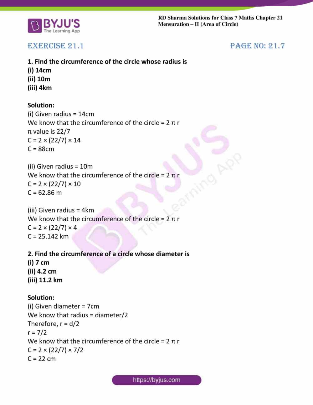 medium resolution of RD Sharma Solutions for Class 7 Maths Chapter 21 - Mensuration - II (Area  of Circle) - Free PDFs are available here