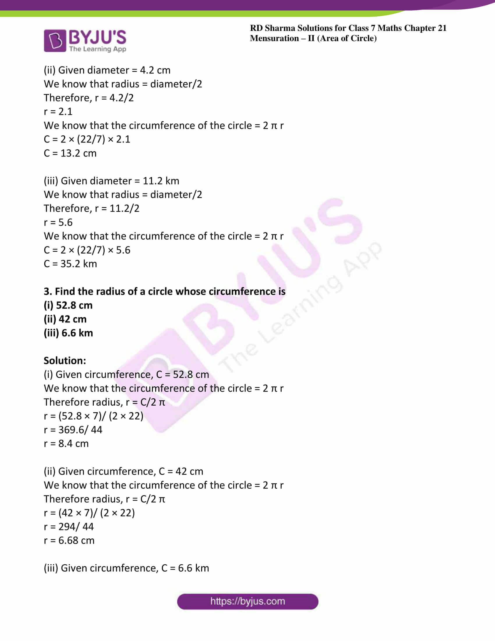 hight resolution of RD Sharma Solutions for Class 7 Maths Chapter 21 - Mensuration - II (Area  of Circle) - Free PDFs are available here