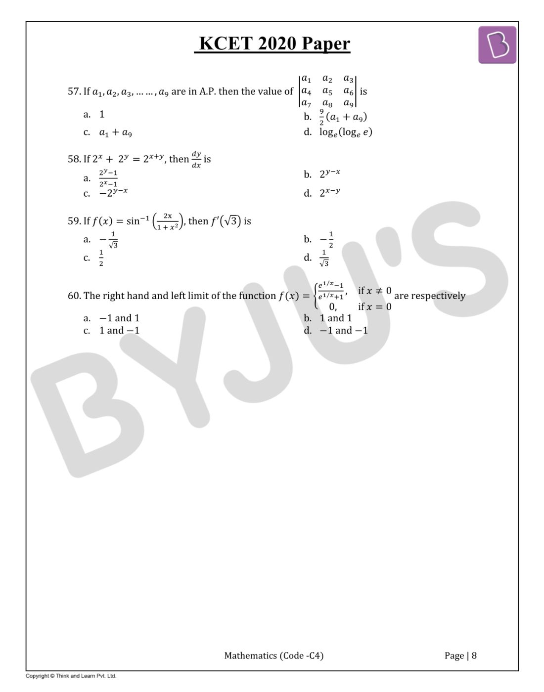 KCET 2020 Mathematics Question Paper and Solutions