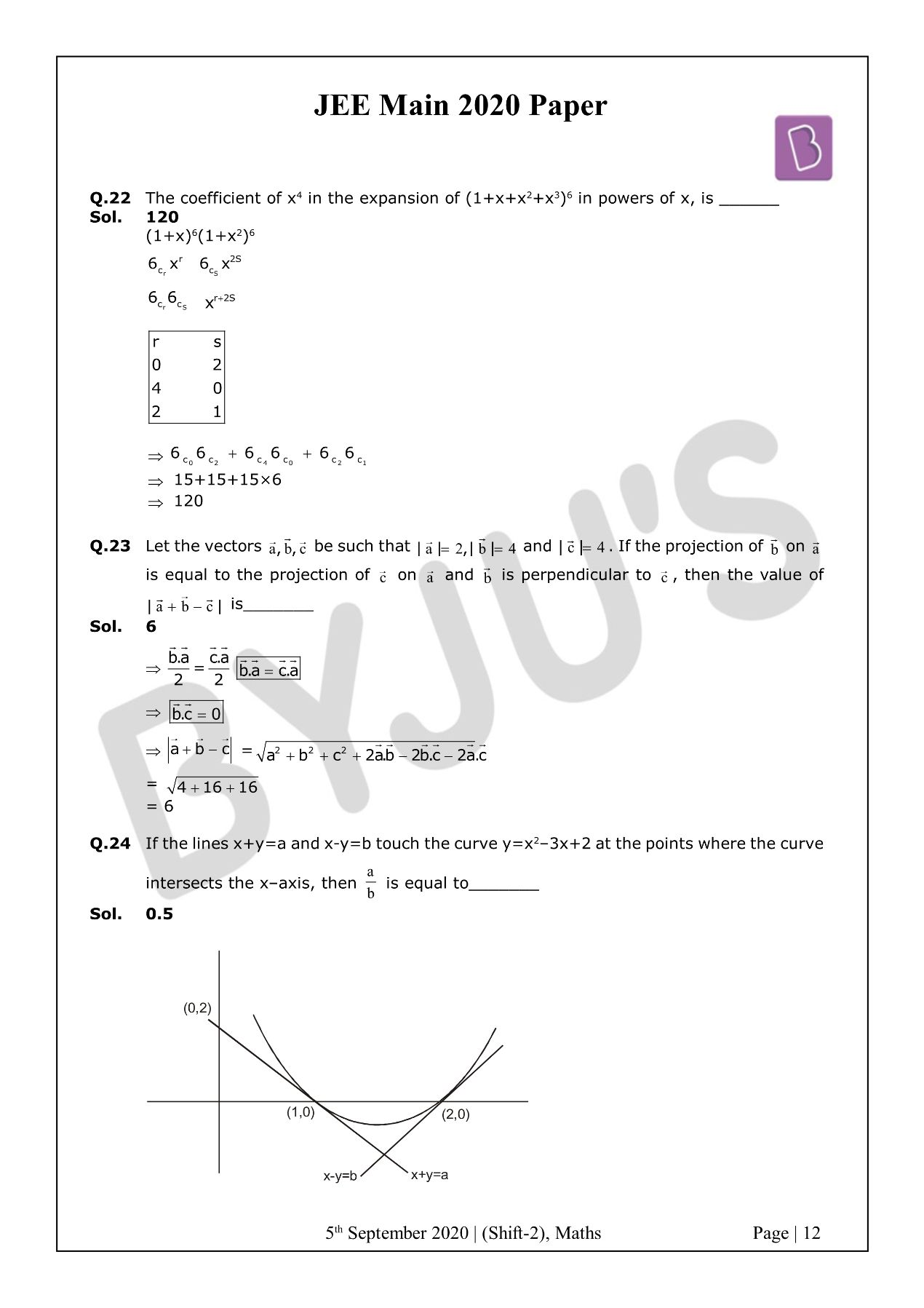 JEE Main 2020 Paper With Solutions Maths Shift 2 (Sept 5