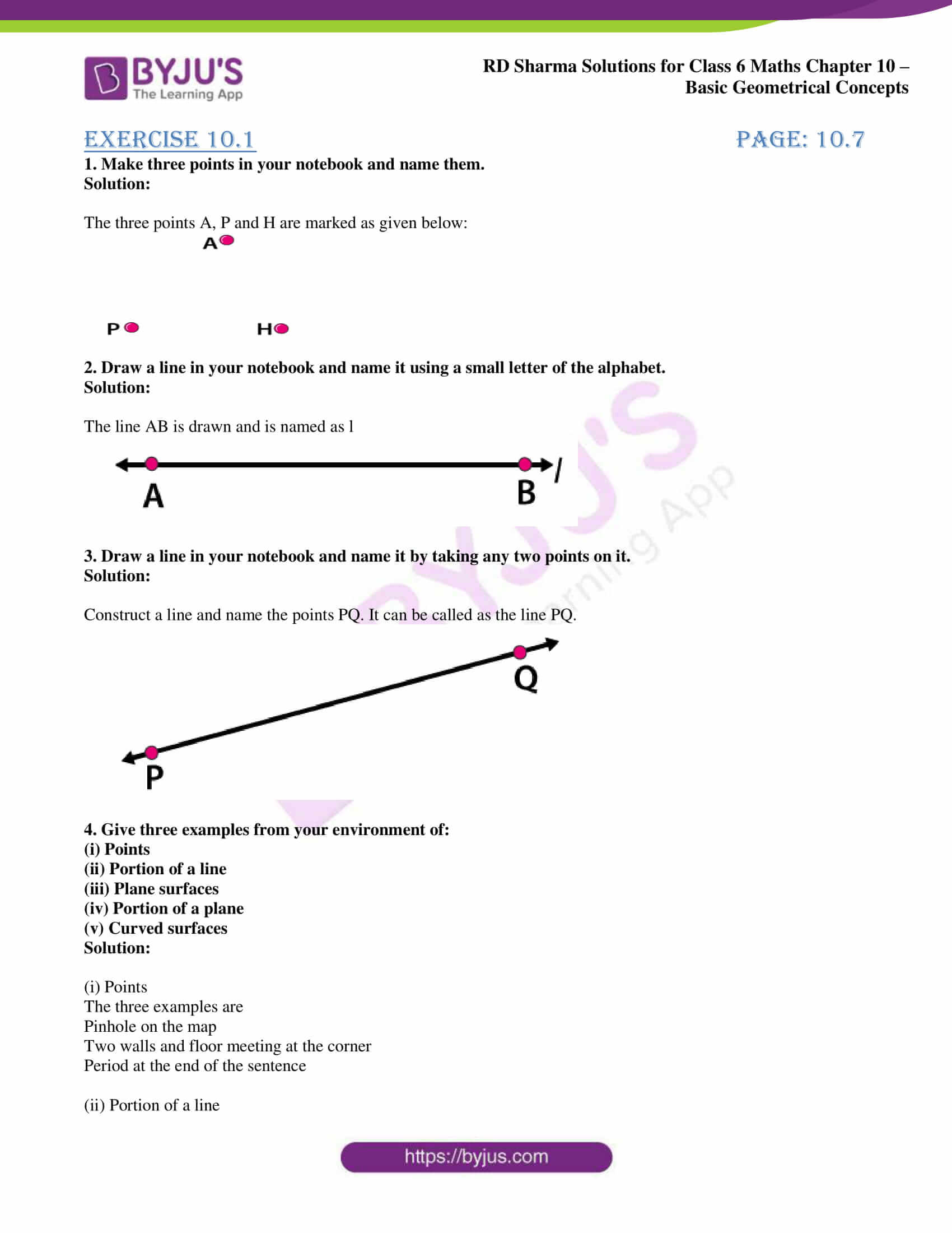 hight resolution of RD Sharma Solutions for Class 6 Chapter 10 Basic Geometrical Concepts PDF