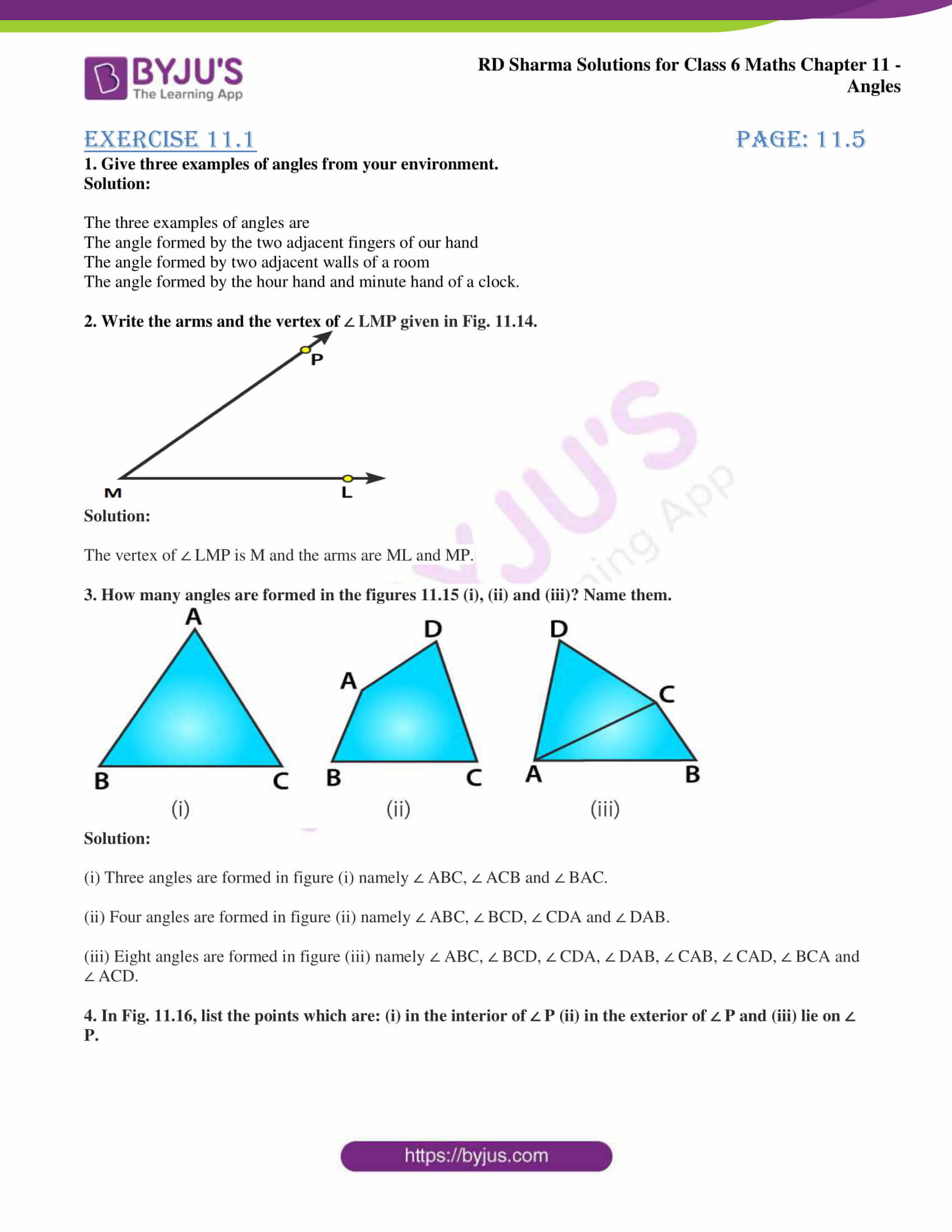 hight resolution of RD Sharma Solutions for Class 6 Chapter 11 Angles access free PDF