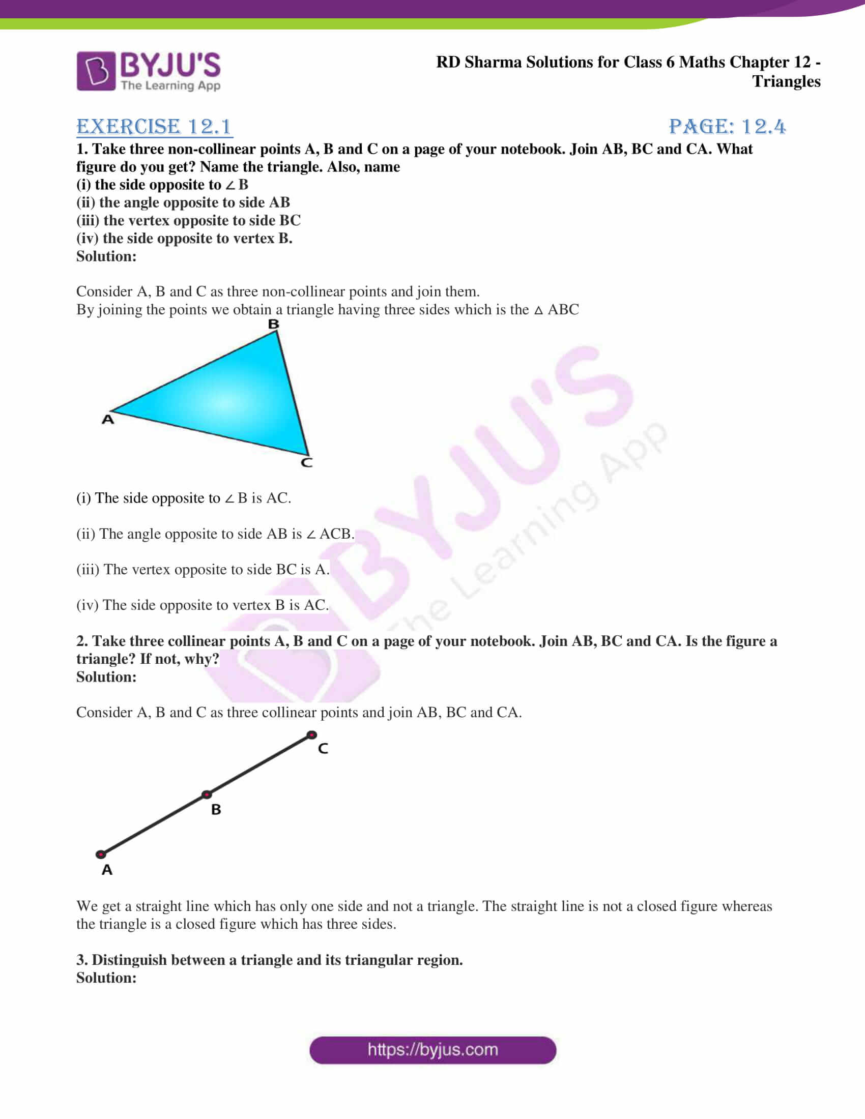 hight resolution of RD Sharma Solutions for Class 6 Chapter 12 Triangles download PDF