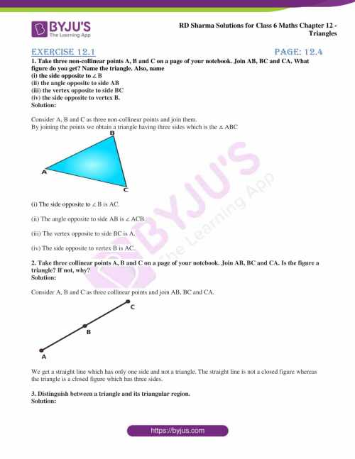 small resolution of RD Sharma Solutions for Class 6 Chapter 12 Triangles download PDF
