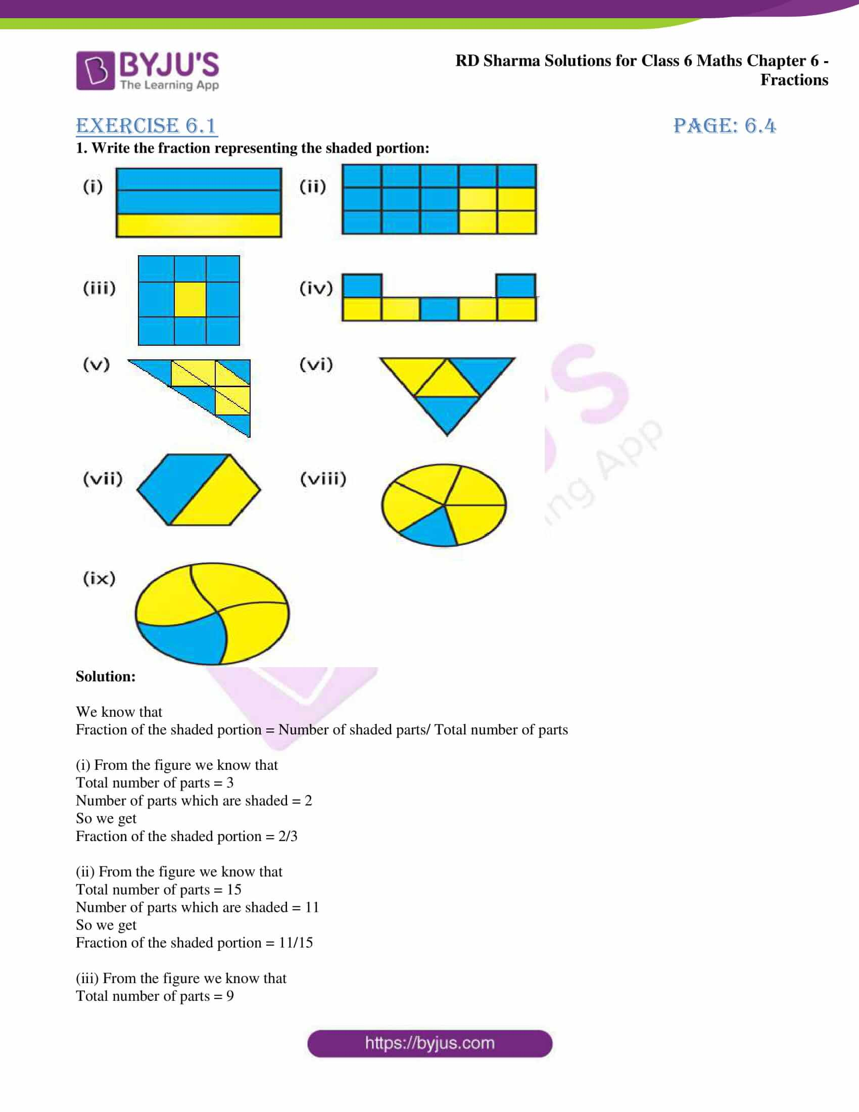 hight resolution of RD Sharma Solutions for Class 6 Chapter 6 Fraction PDF for free