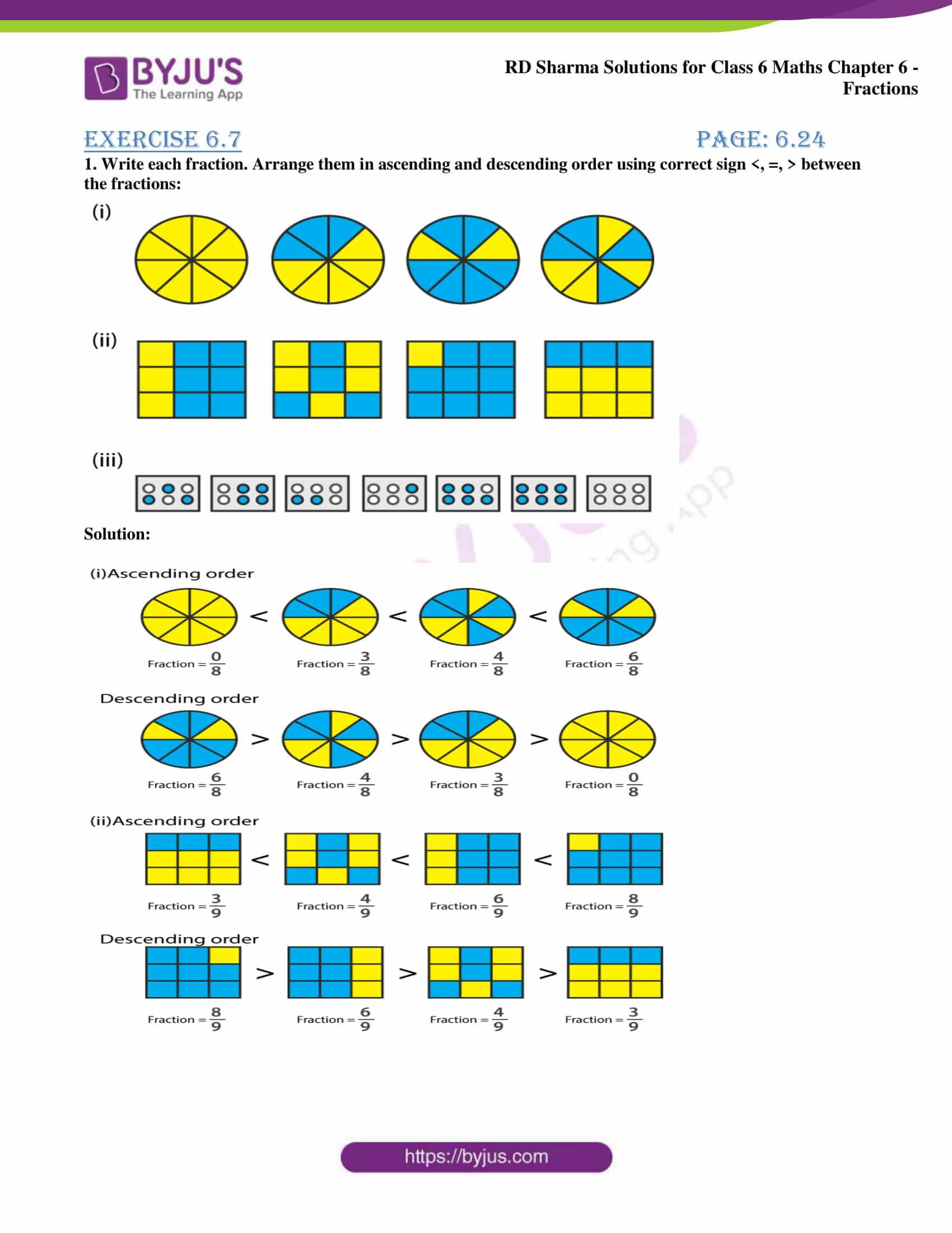 hight resolution of RD Sharma Solutions for Class 6 Chapter 6 Fractions Exercise 6.7 free PDF  access