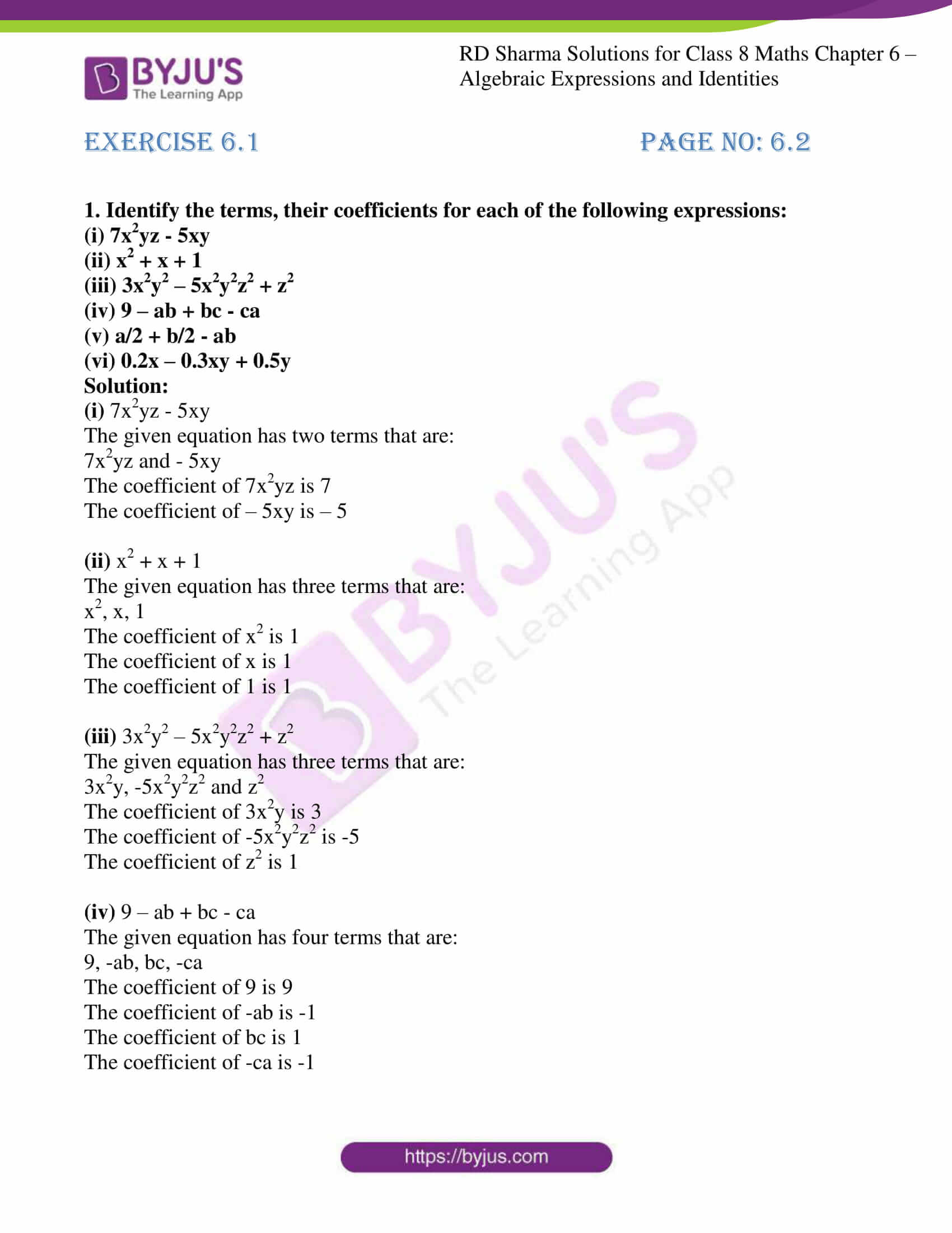 hight resolution of RD Sharma Solutions for Class 8 Chapter 6 - Algebraic Expressions and  Identities Download Free PDF