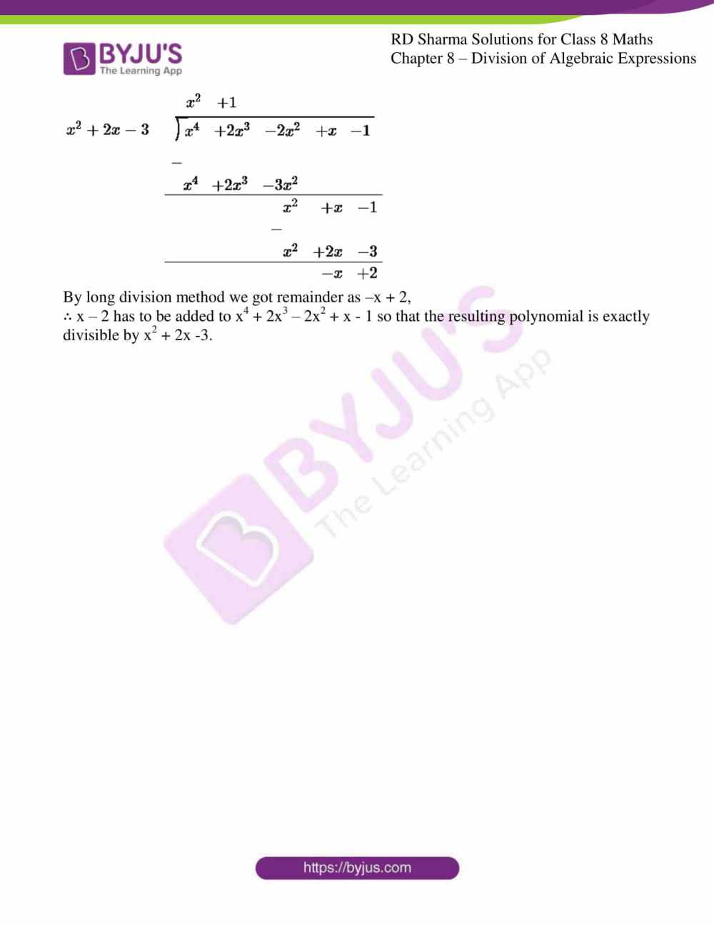 medium resolution of RD Sharma Solutions for Class 8 Chapter 8 Division of Algebraic Expressions  download free pdf