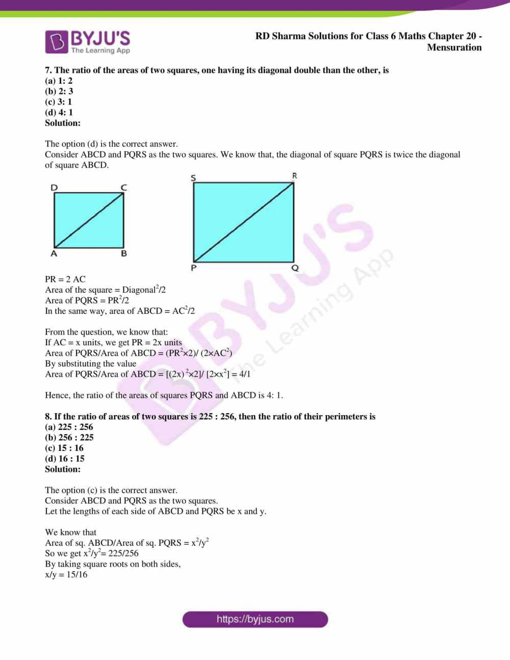 medium resolution of RD Sharma Solutions for Class 6 Chapter 20 Mensuration access PDF