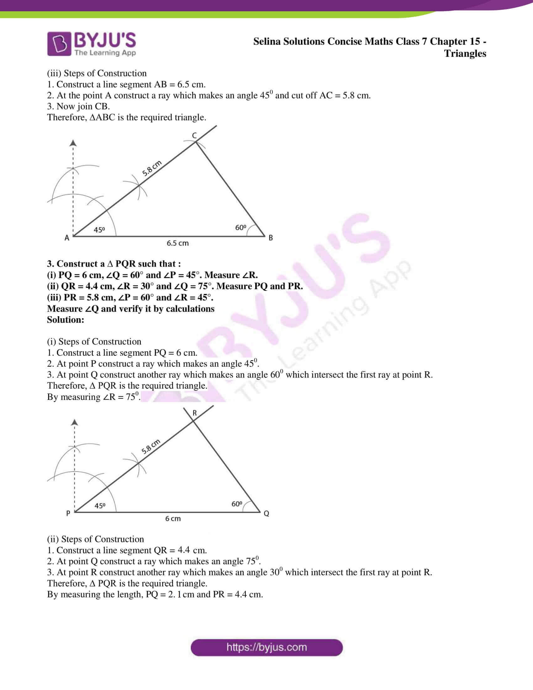 hight resolution of Selina Solutions Concise Maths Class 7 Chapter 15 Triangles Exercise 15C PDF