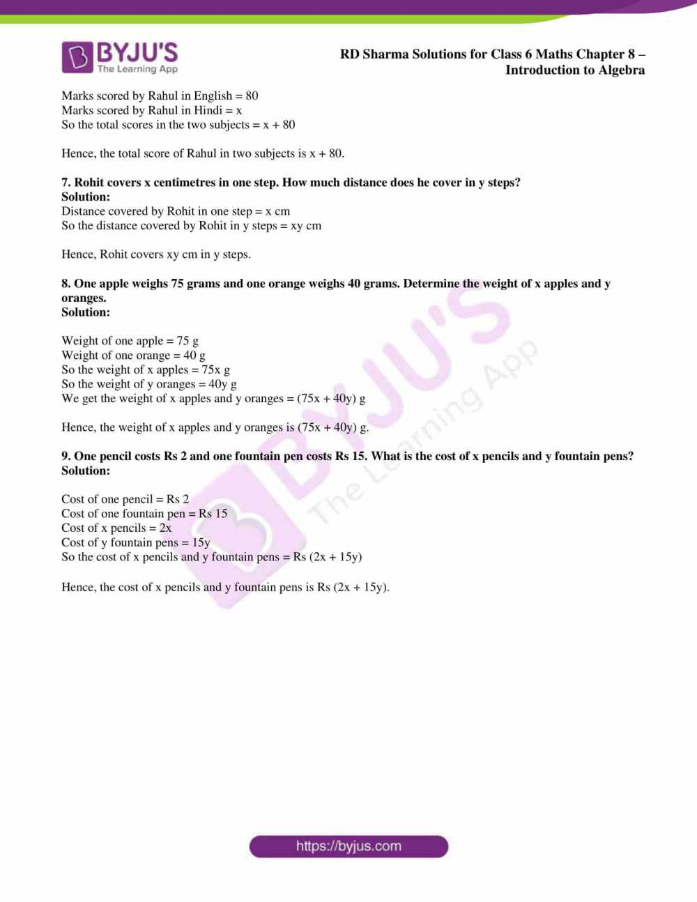 medium resolution of RD Sharma Solutions for Class 6 Chapter 8 Introduction to Algebra free PDF