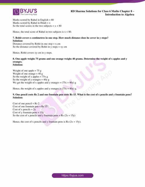 small resolution of RD Sharma Solutions for Class 6 Chapter 8 Introduction to Algebra free PDF